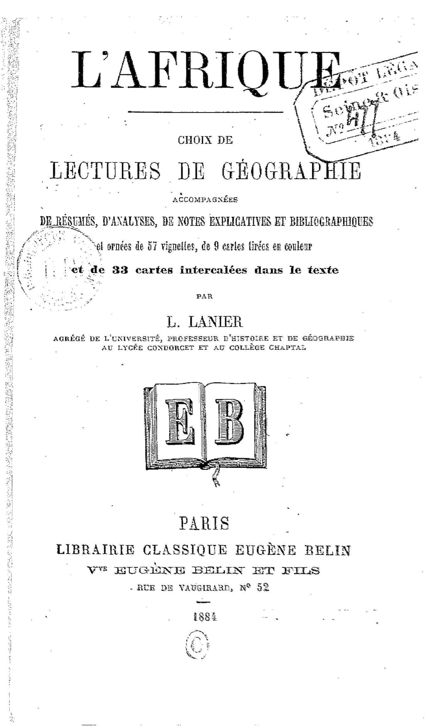 Calaméo - L Afrique Choix De Lectures De Geographie Par L Lanier 1884 5e7085153481
