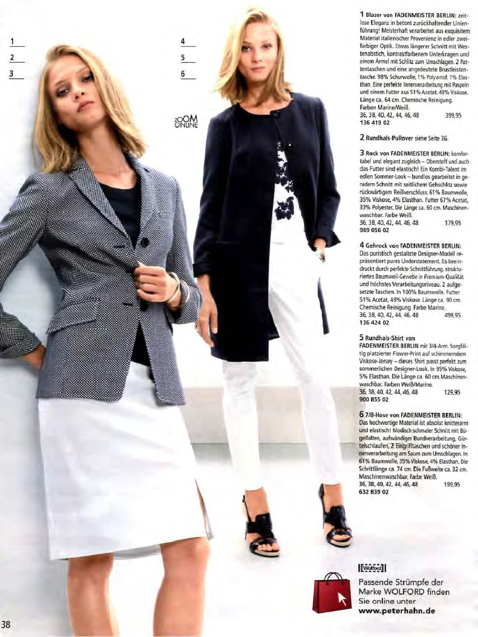 Damenmode Streifen 38 Revers Tailliert St.emile Damen Blazer Jacke Wollweiß Struktur