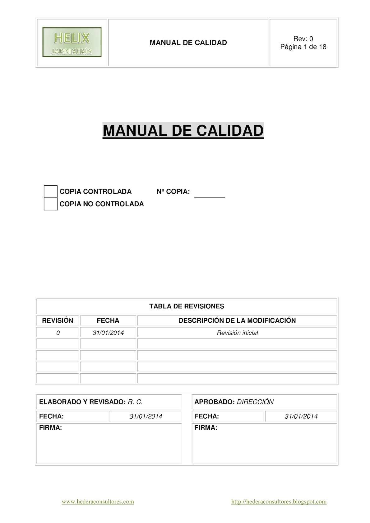 Ejemplo manual de calidad.