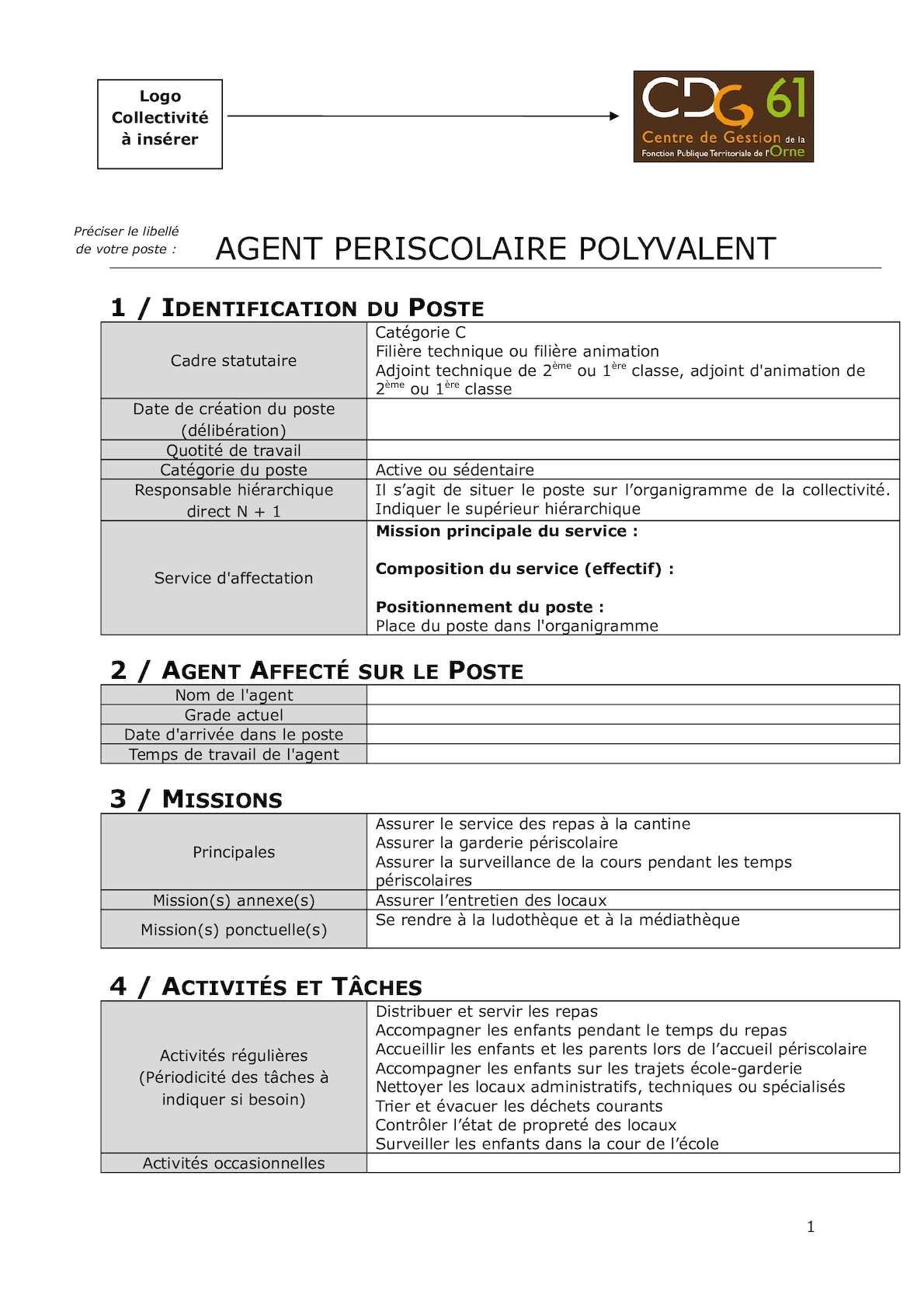 Calameo Cdg61 Agent Periscolaire Polyvalent Fiche De Poste