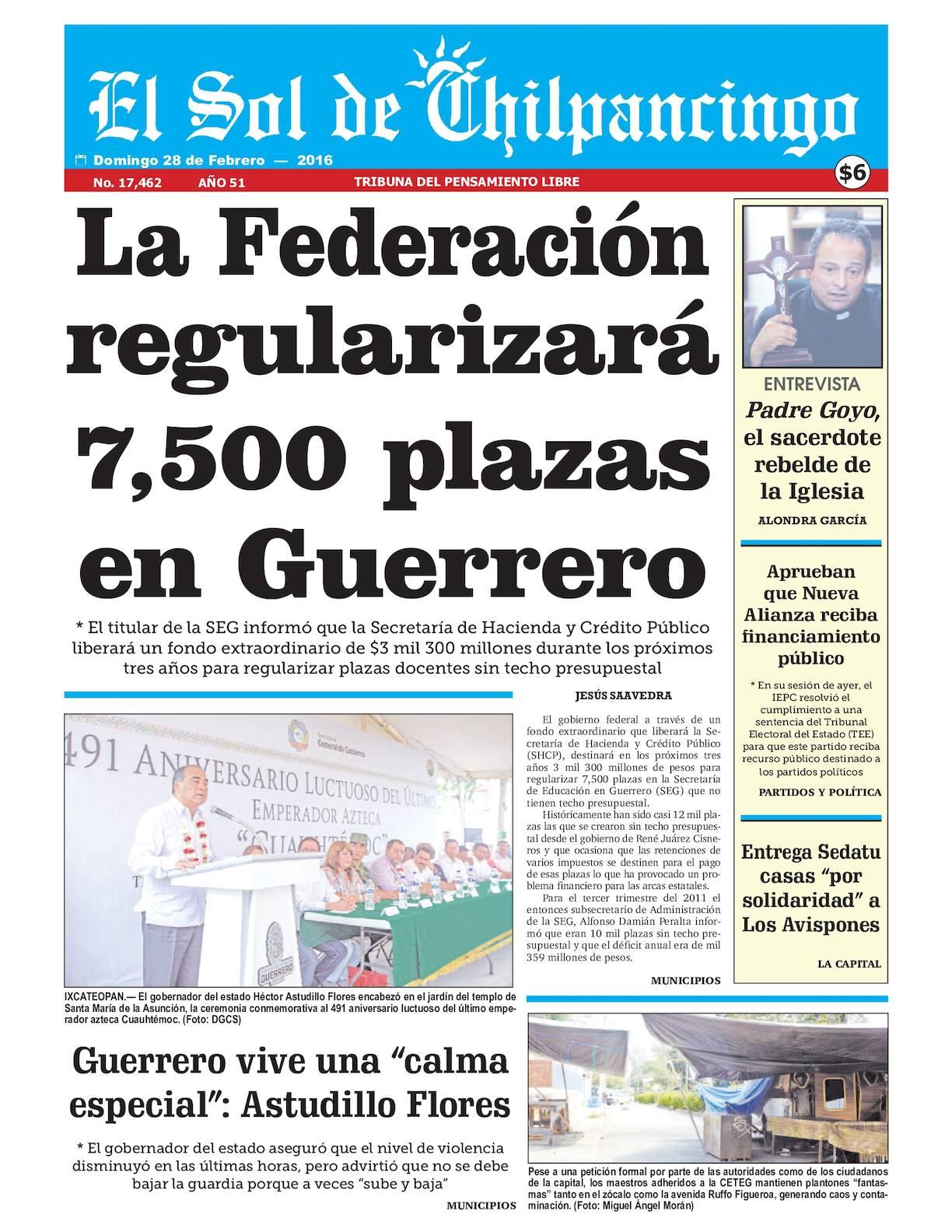 73b308dd2e5e Calaméo - El Sol De Chilpancingo - 28 Febrero 2016