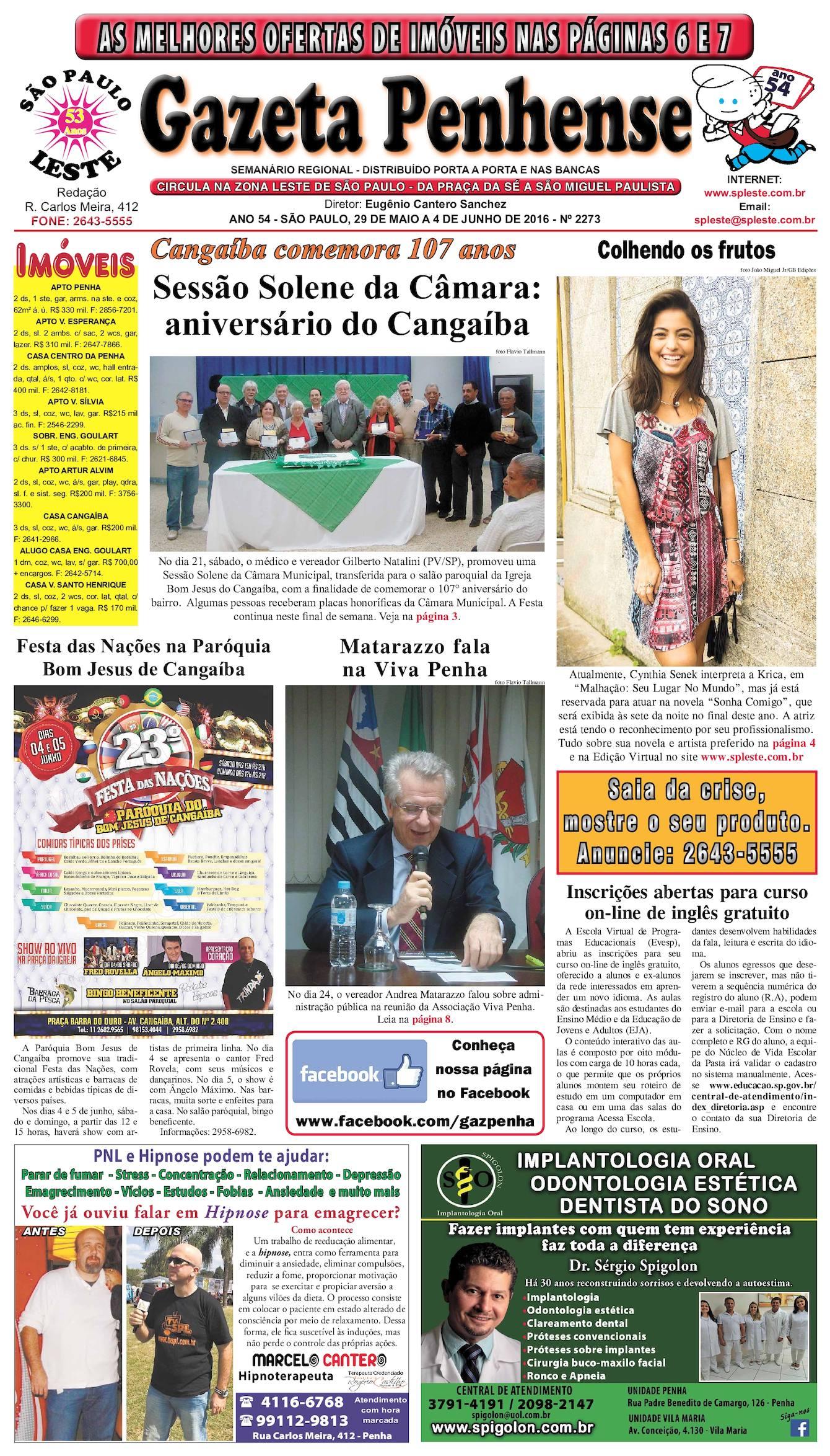 f9deef74bcd23 Calaméo - Gazeta Penhense - edição 2273 - 29.05 a 04.06.16