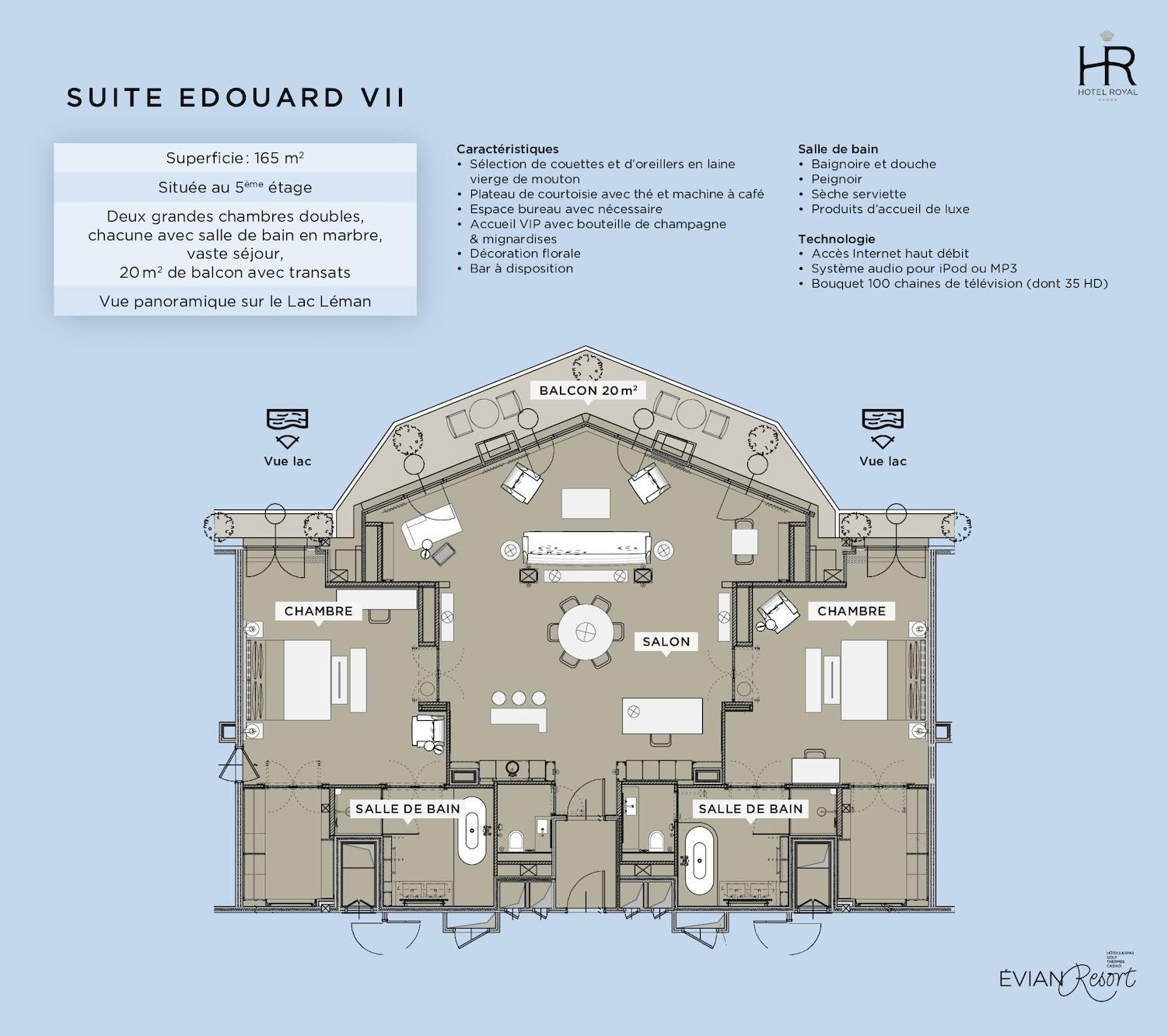 calam o suite edouard vii h tel royal evian fr. Black Bedroom Furniture Sets. Home Design Ideas