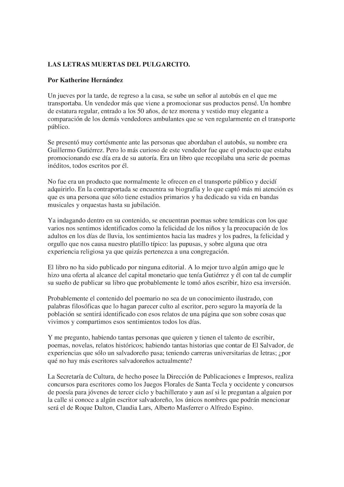 Calaméo Artículo De Opinión Las Letras Muertas Del Pulgarcito