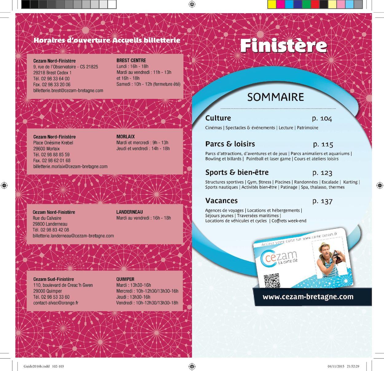 Carte Cezam Sud Finistere.Calameo Guide Cezam Breatgne 2016