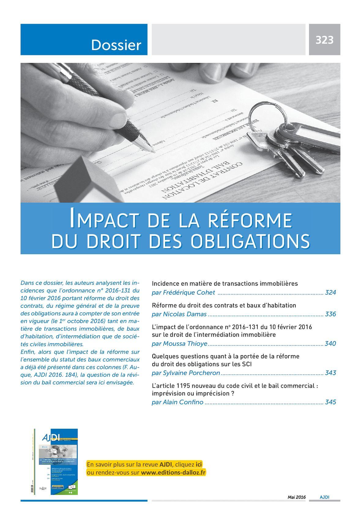 Calameo Impact De La Reforme Du Droit Des Obligations Ajdi