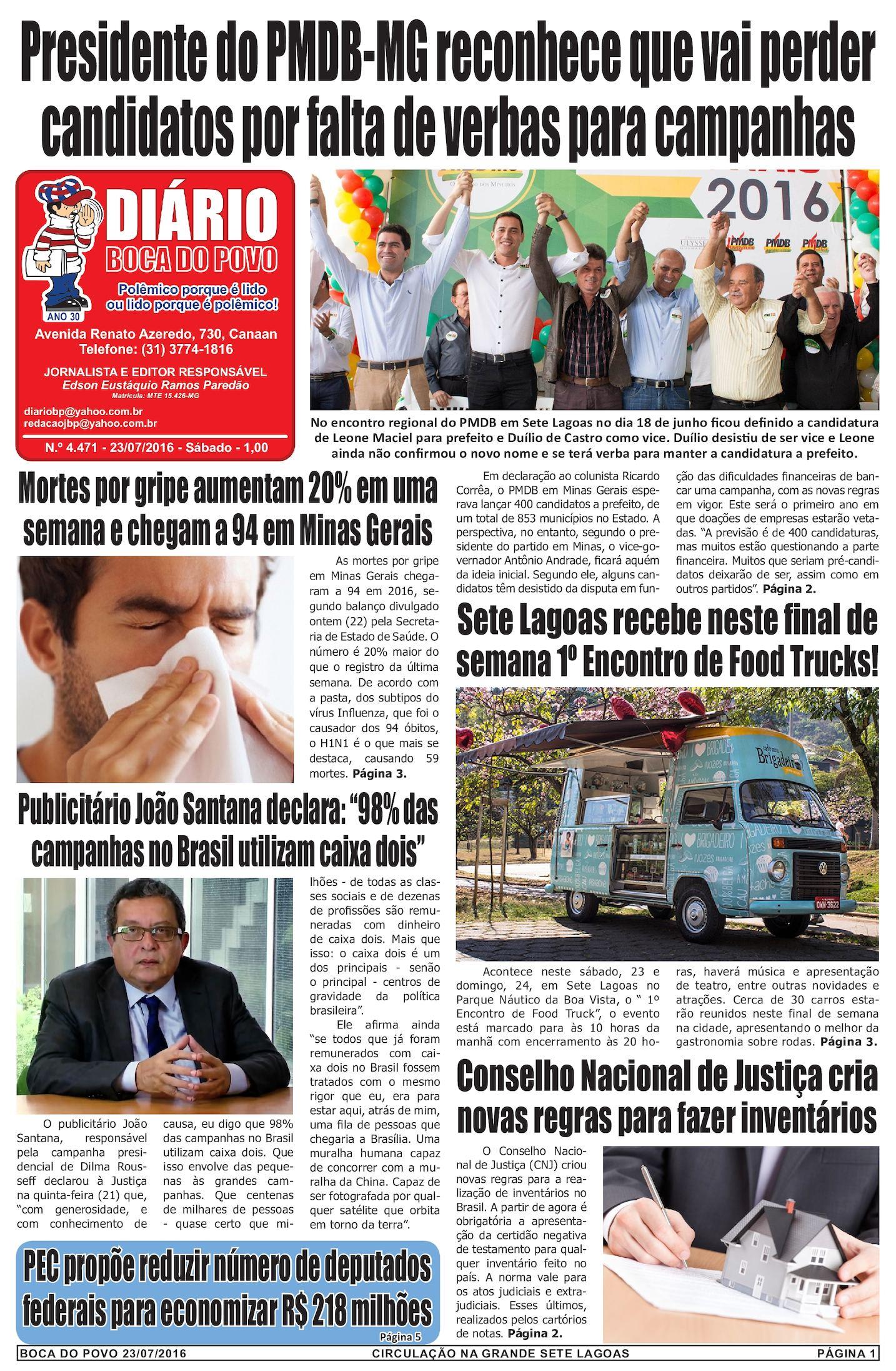 2cee7766b07 Calaméo - Jornal Diário Boca do Povo de sábado dia 23 de julho de 2016