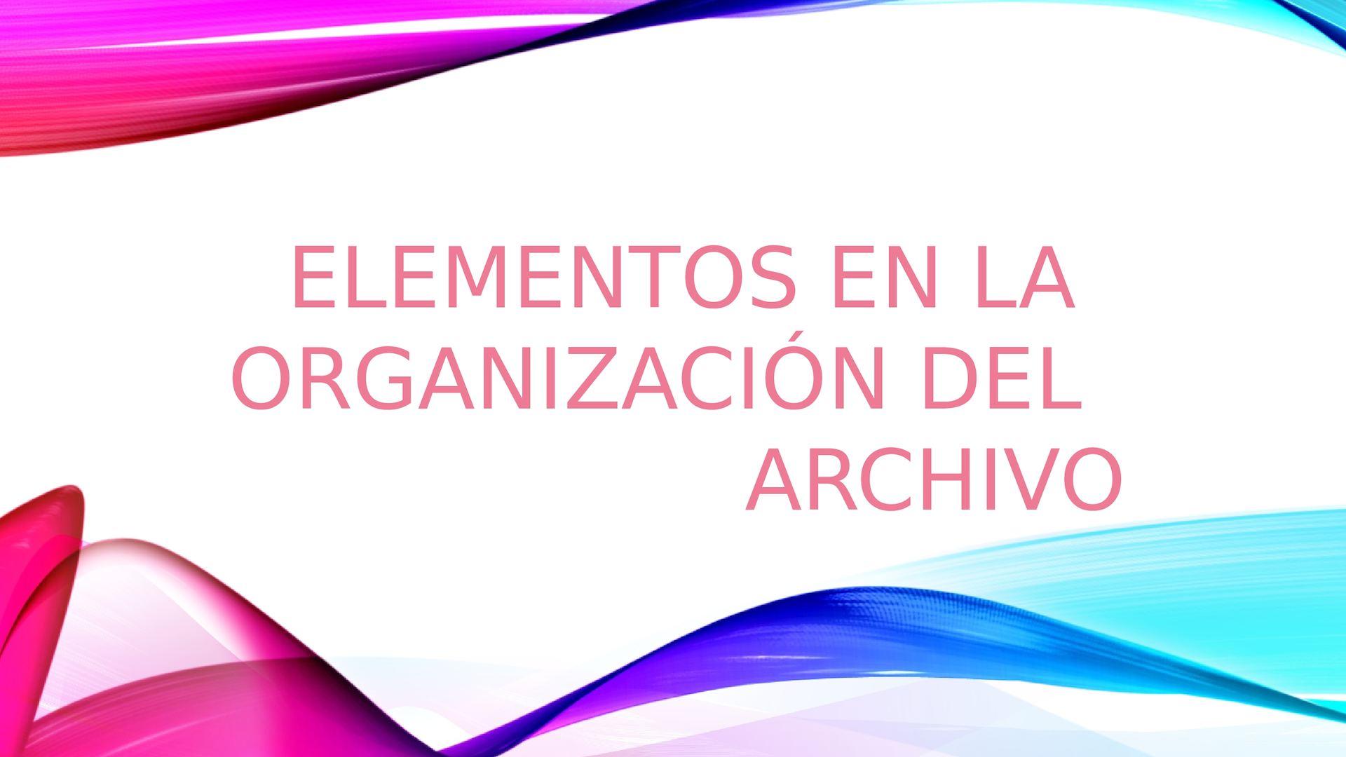 Elementos En La Organización Del Archivo