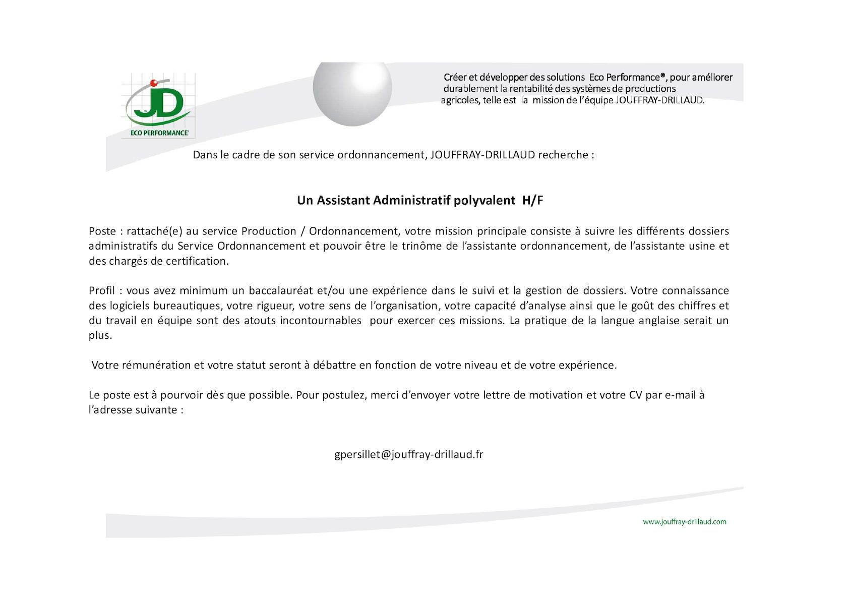 Calameo Annonce Assistant Administratif Polyvalent Hf