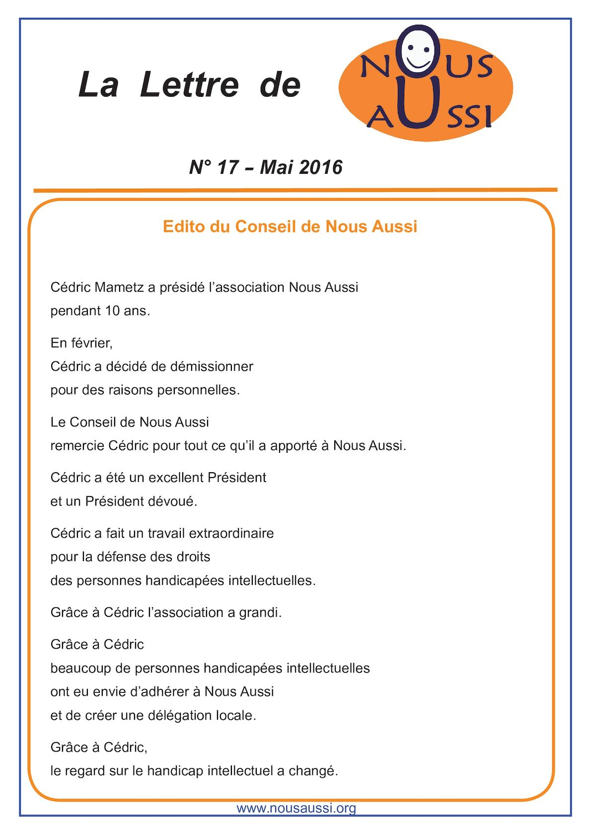 Calameo Lettre Nous Aussi Mai 2016