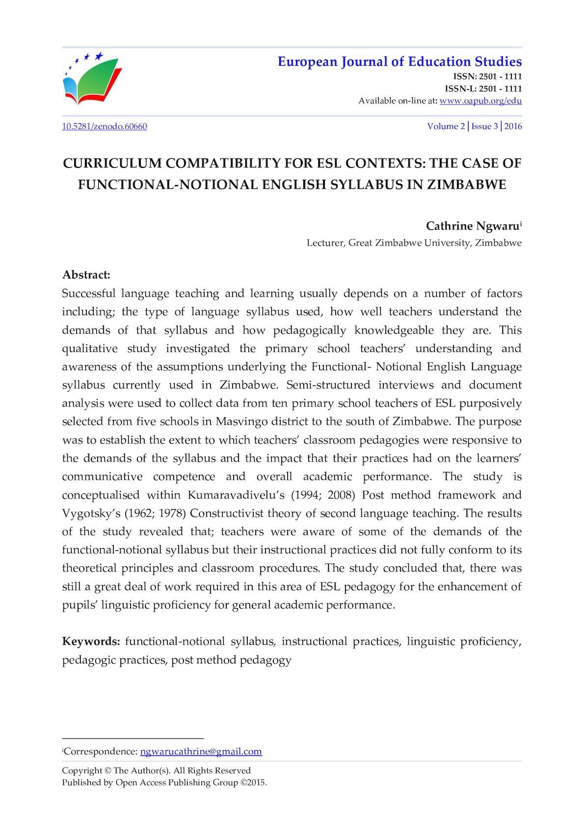Calaméo - CURRICULUM COMPATIBILITY FOR ESL CONTEXTS: THE