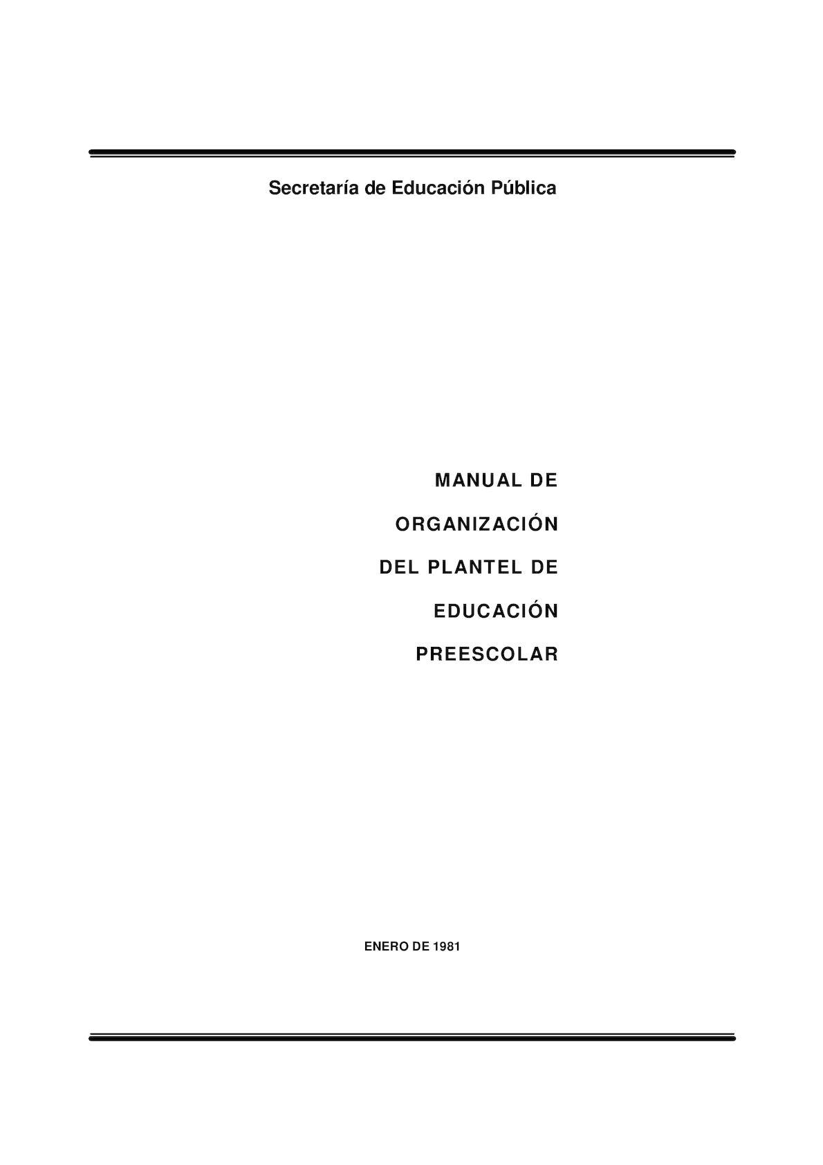 Manual Org Plantel Preescolar