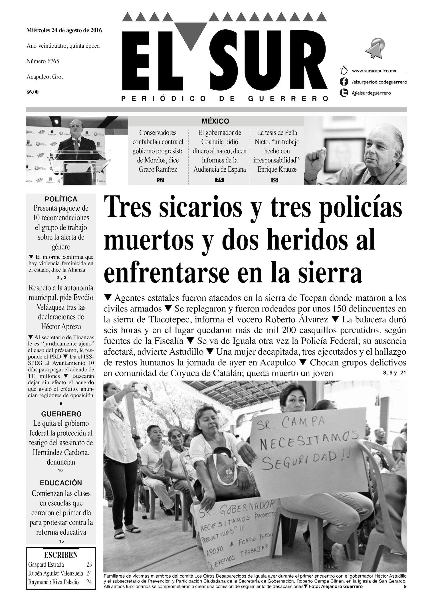 67faa05bb Calaméo - El Sur Miercoles 24082016