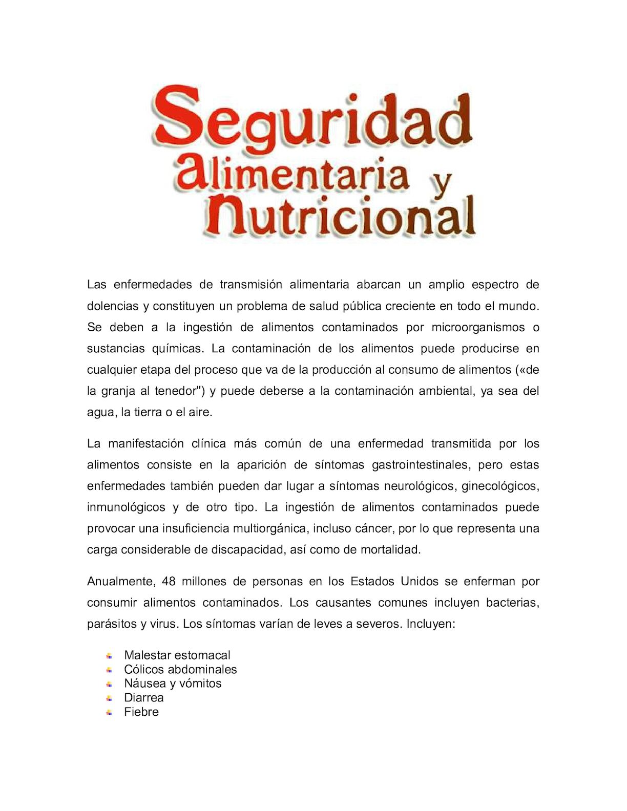 tipos de enfermedades por transmision alimentaria