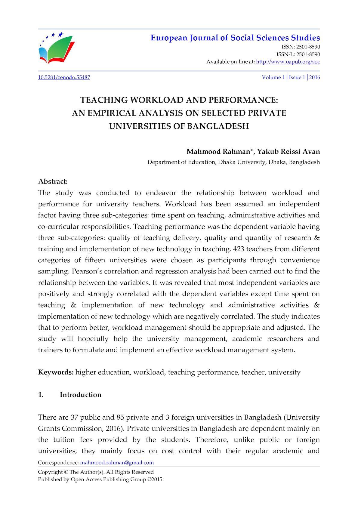 Calaméo - TEACHING WORKLOAD AND PERFORMANCE: AN EMPIRICAL ANALYSIS