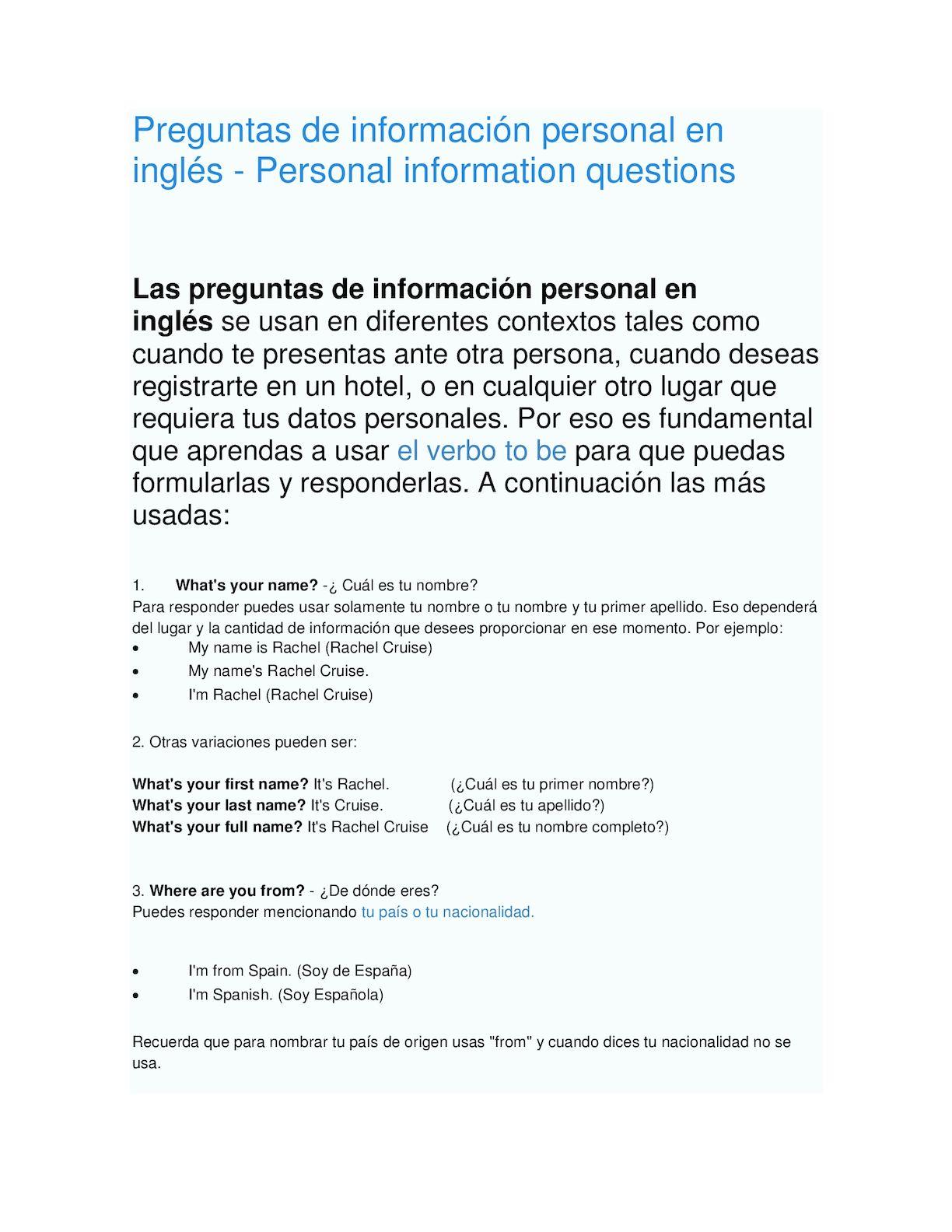 Calaméo Preguntas De Información Personal En Inglés