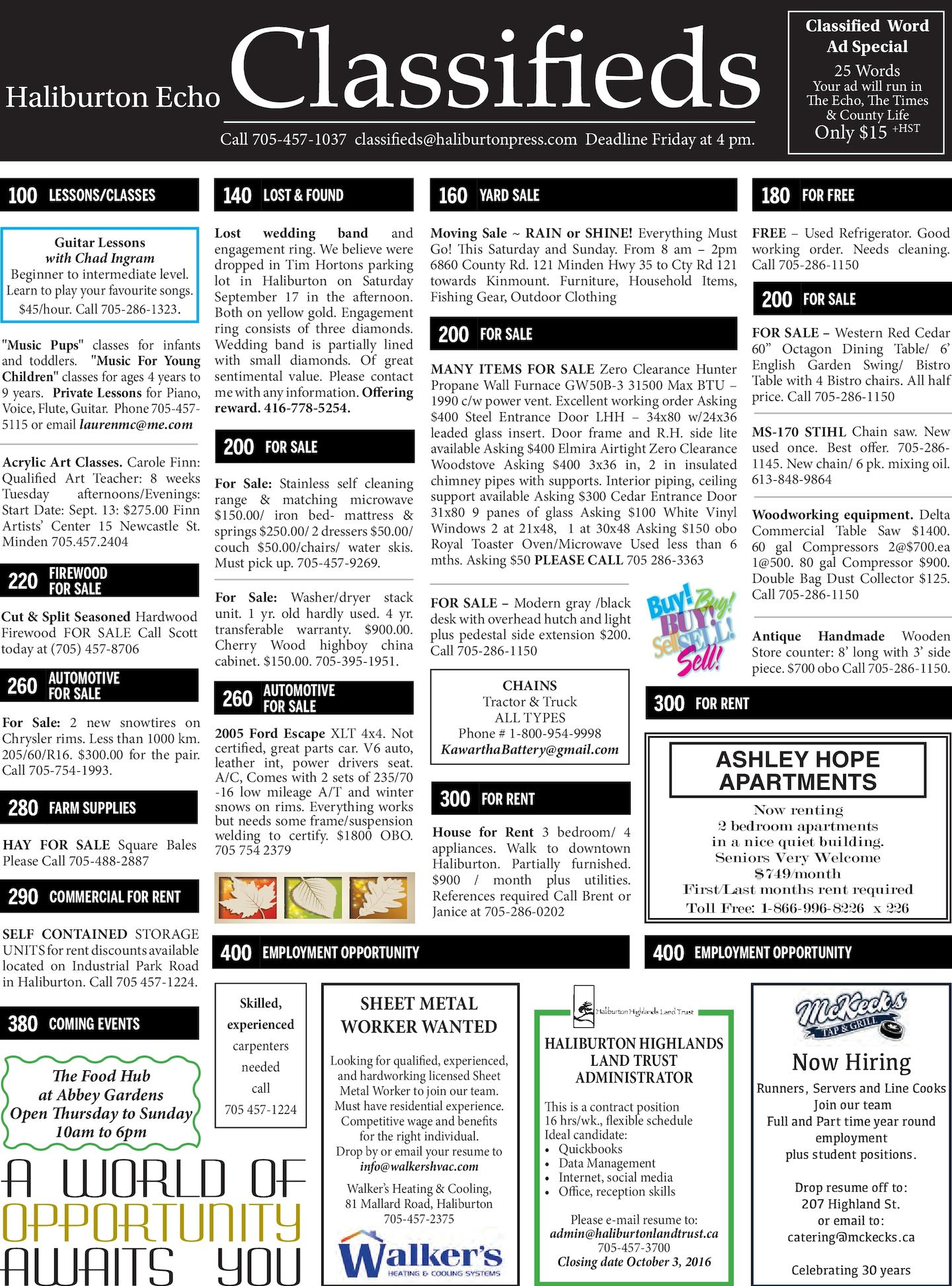 Calam 233 O Classifieds September 27 2016