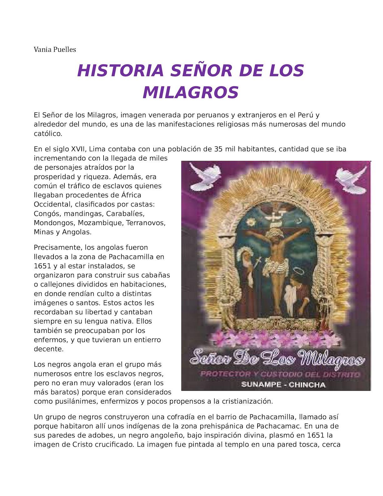 Historia Señor De Los Milagros Vania