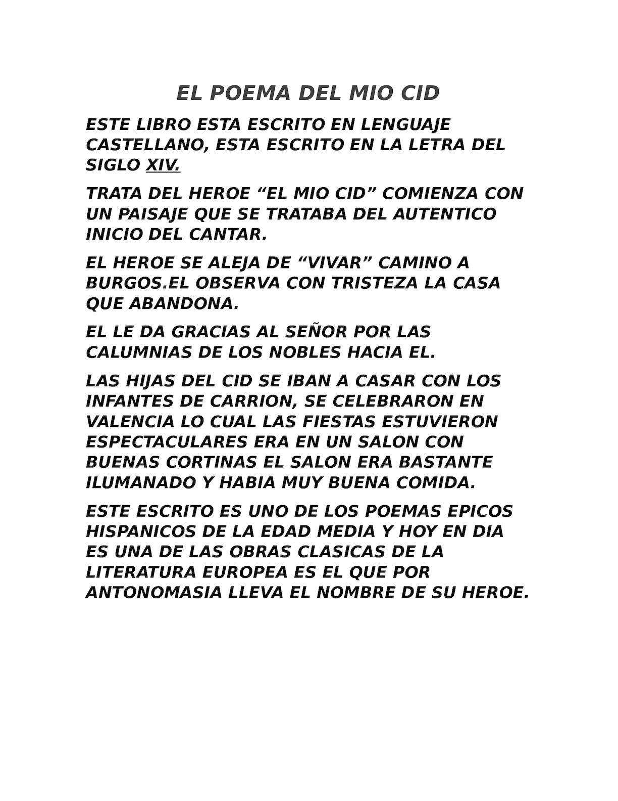 Calaméo El Poema Del Mio Cid