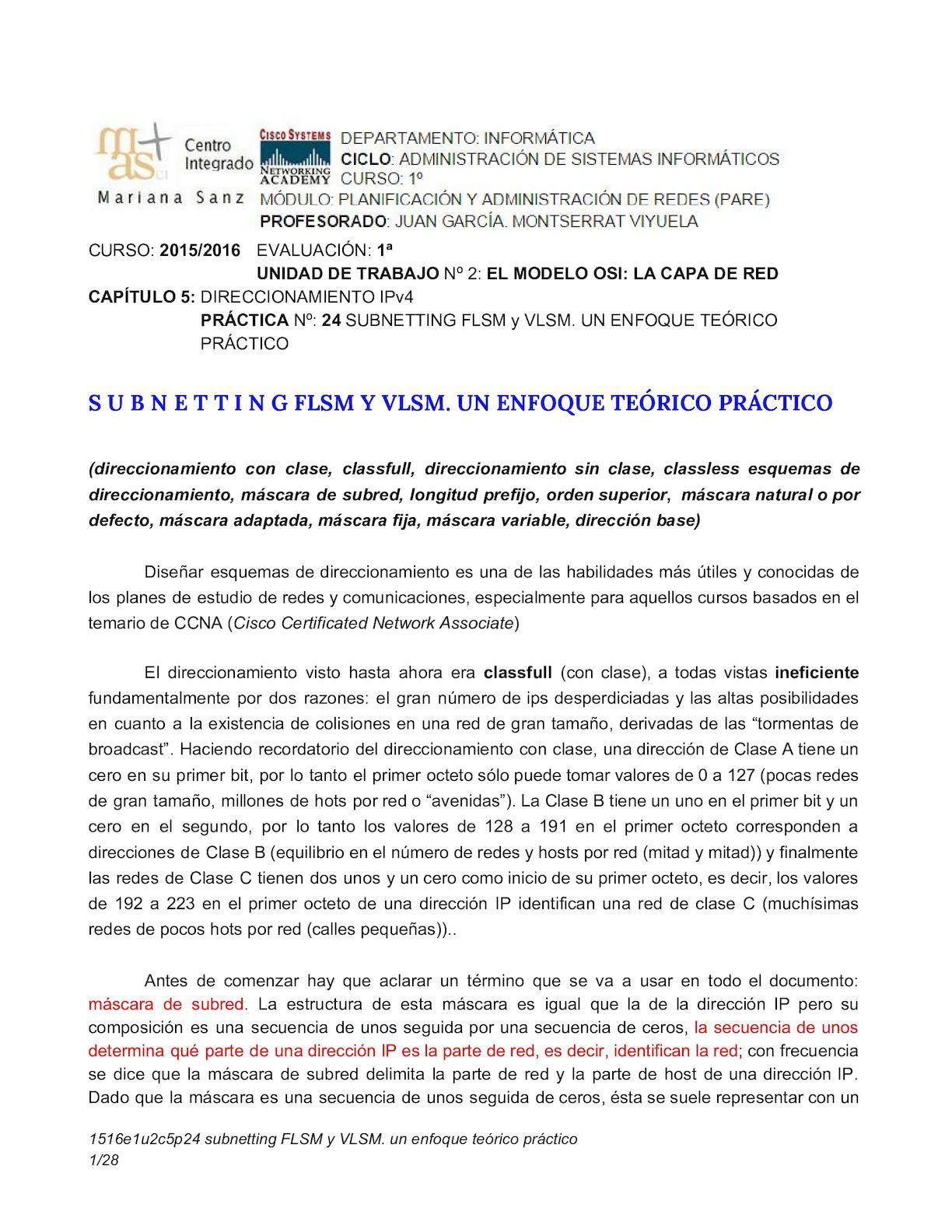 Subnetting Flsm Y Vlsm Un Enfoque Teórico Práctico
