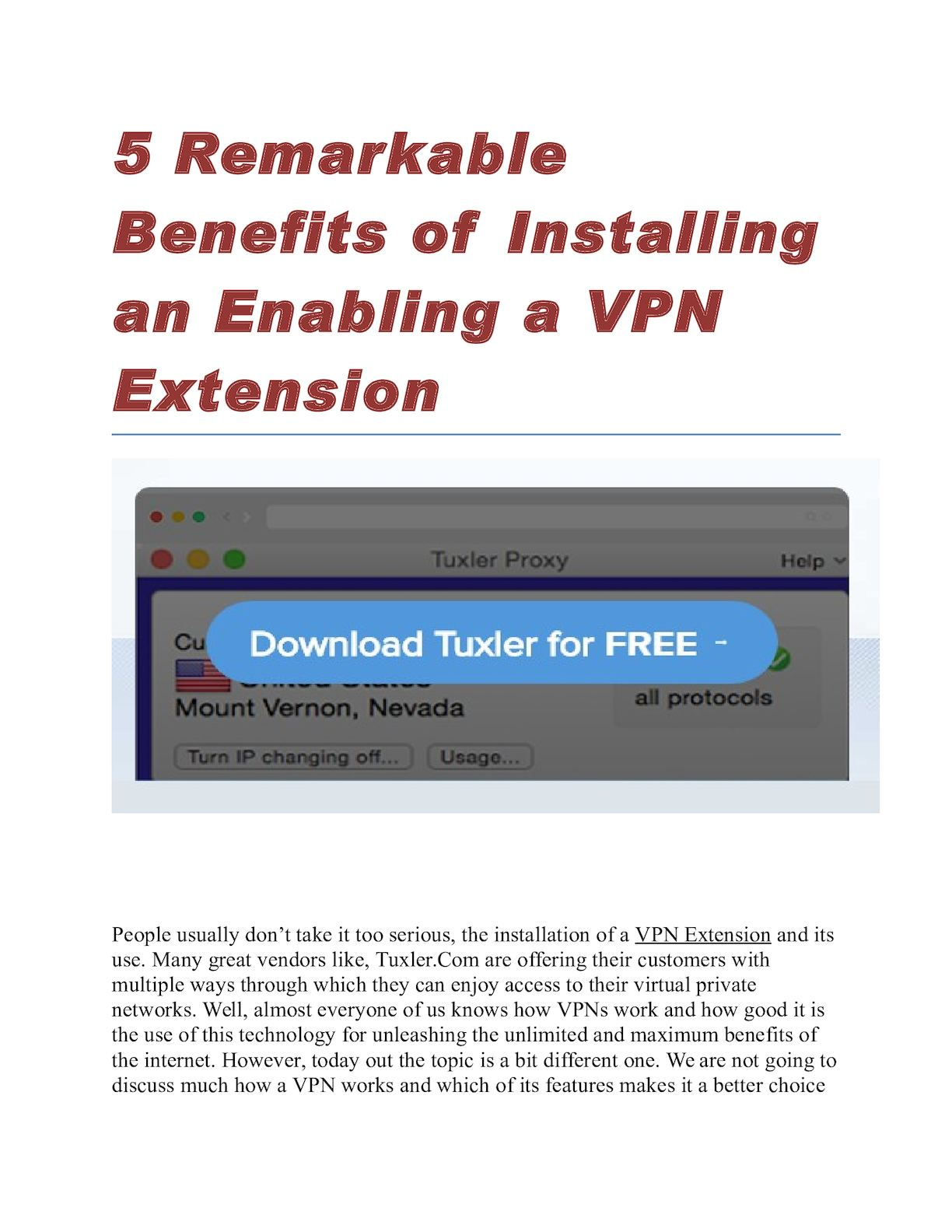 By Photo Congress || Tuxler Vpn