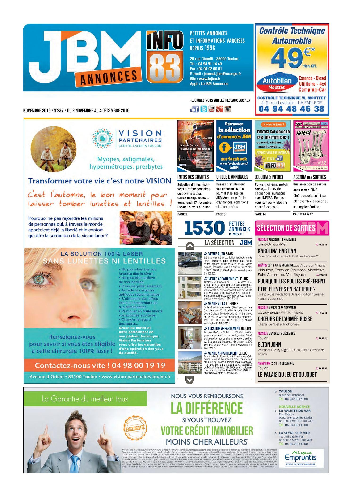 2016 Jbm Novembre Calaméo Journal Annonces N°237 wNny8OvmP0