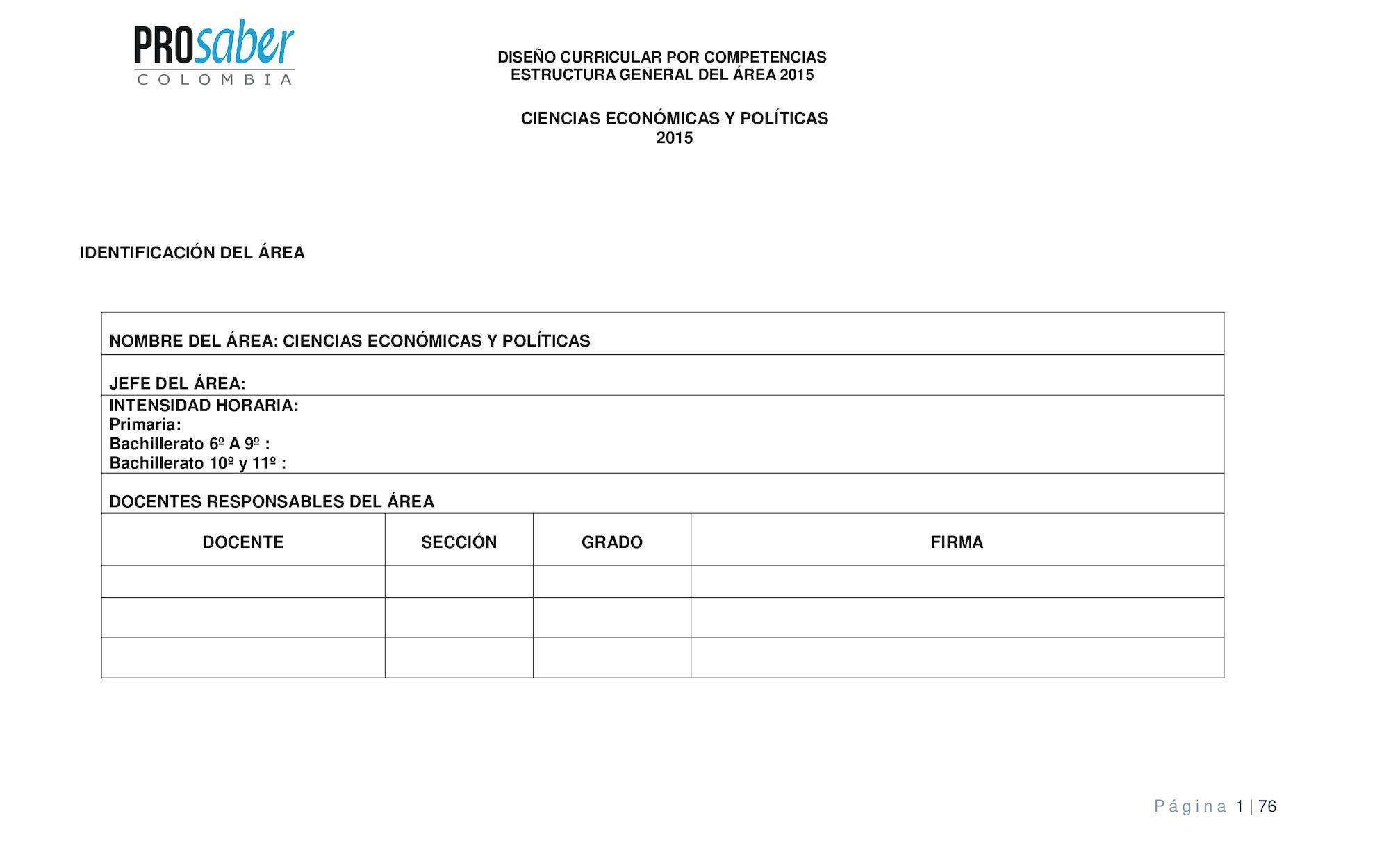 Diseño Curricular Por Competencia Prosaber Colombia Ciencias Económicas Y Políticas 2015