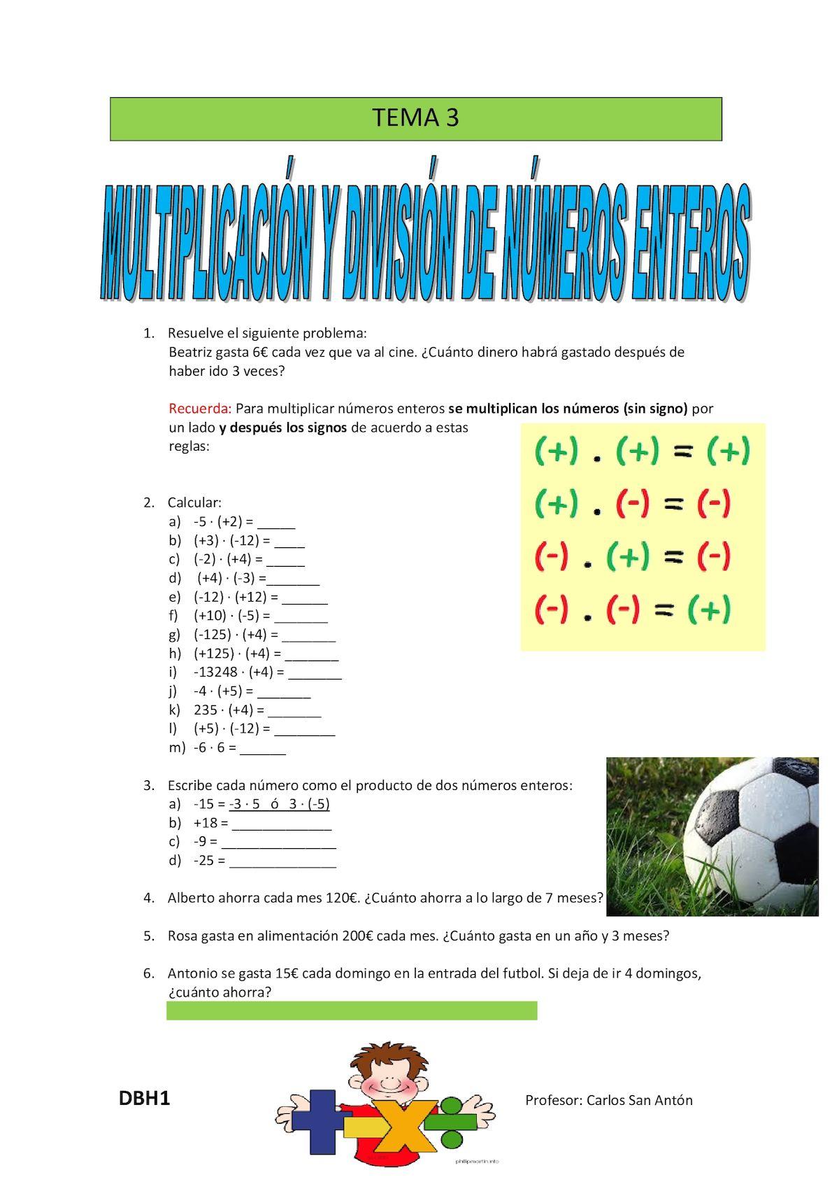 Calaméo Dbh1 Tema 3 Numeros Enteros Multiplicacion Y División