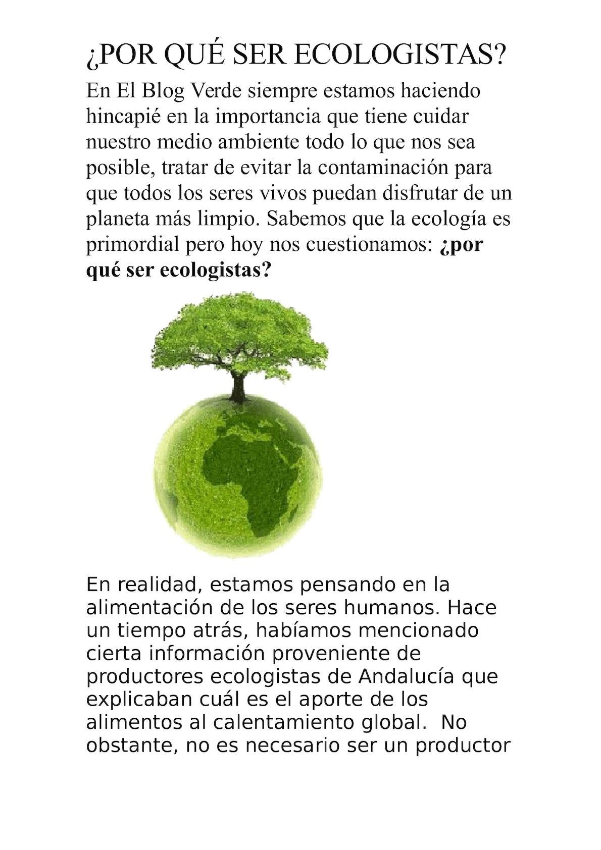 Por Qué Ser Ecologistas