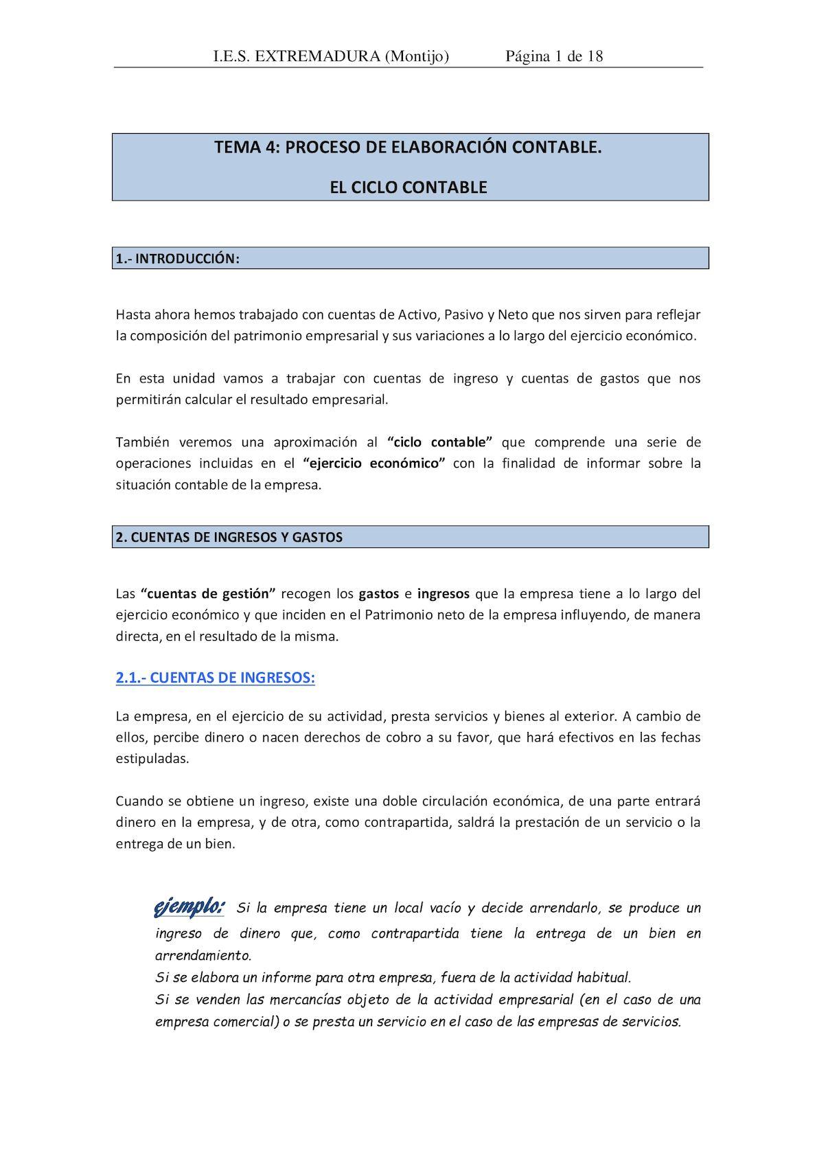 Tema 4 Proceso De Elaboración Contable El Ciclo Contable
