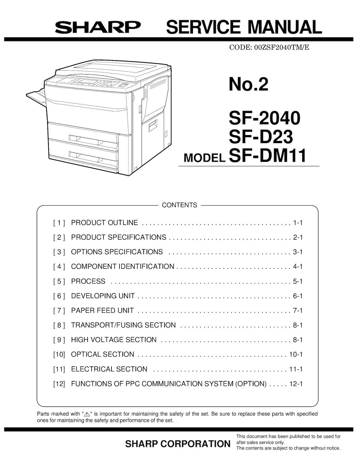 Calaméo - Service Manual Sharp SF 2040 SM