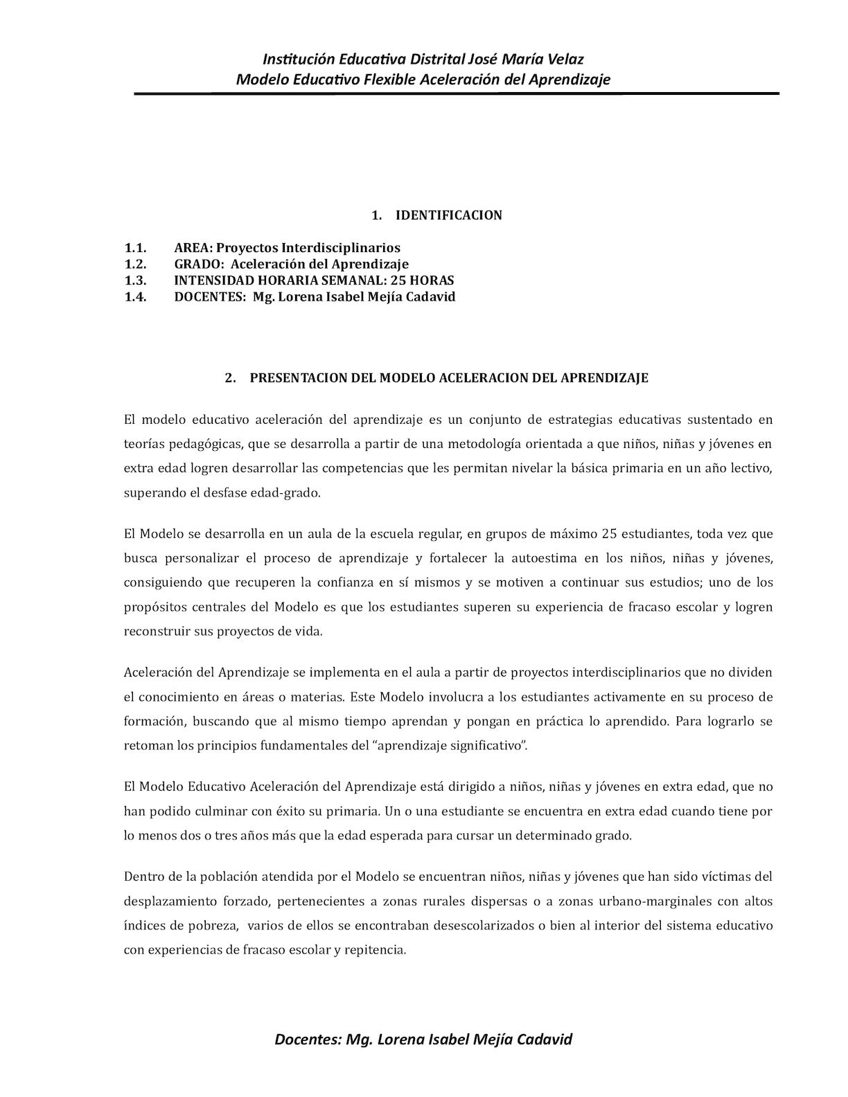 Proyecto Y Plan De Clases Aceleracion 2015 Cojosema