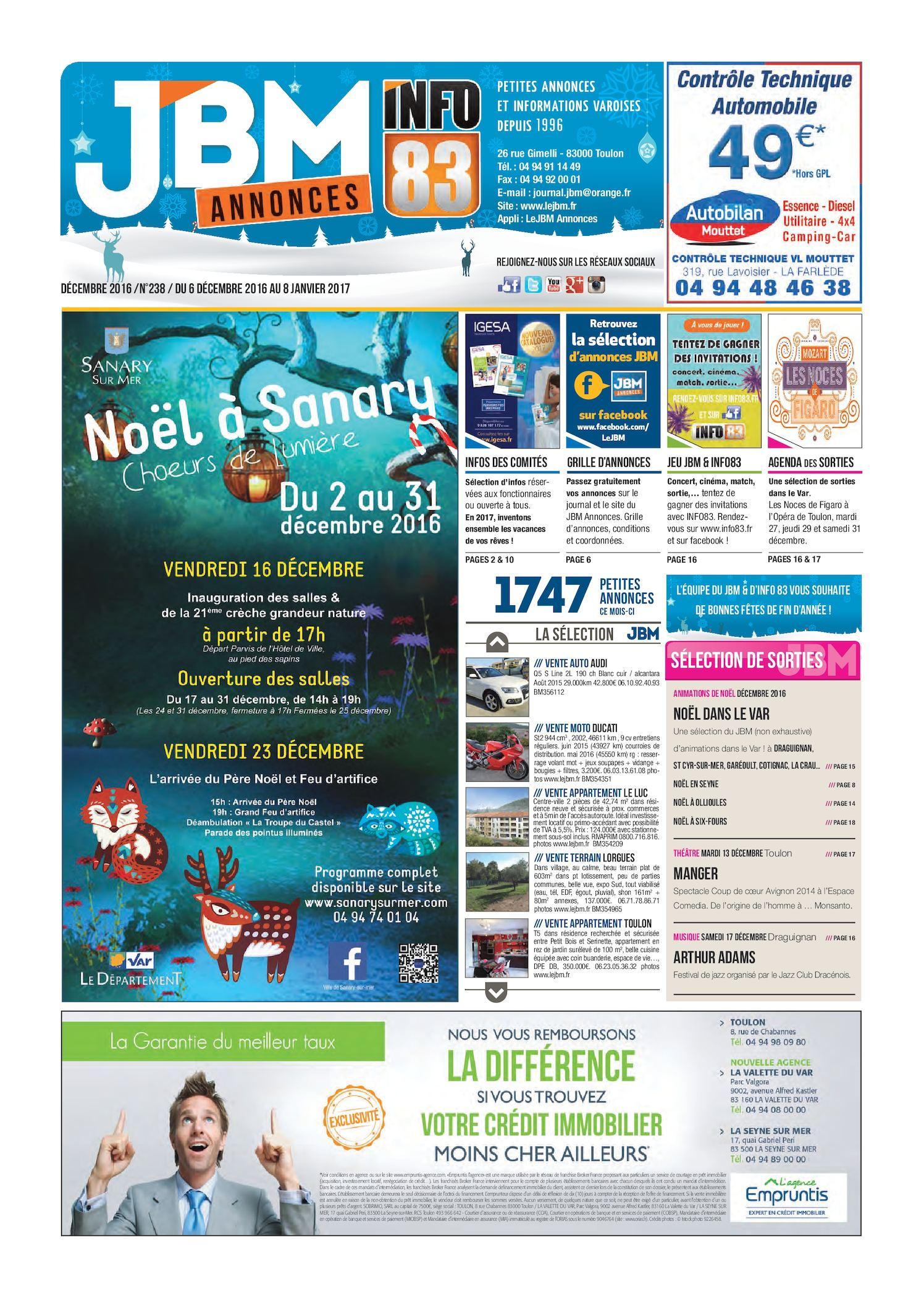 Calaméo - Journal JBM Annonces n°238 Décembre 2016 025115773e1
