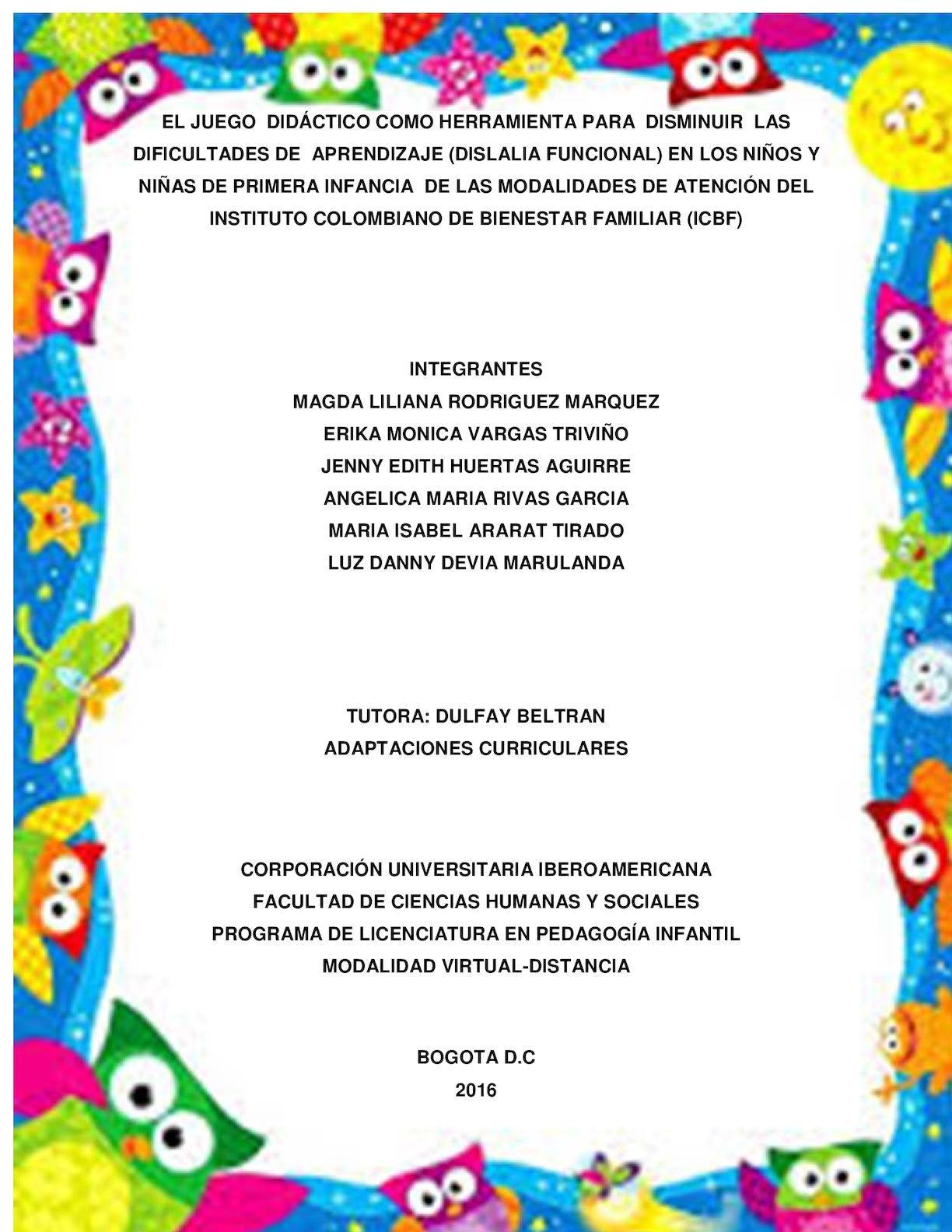 a5050e4921c5 Calaméo - LA DISLALIA Y EL JUEGO DIDÁCTICO