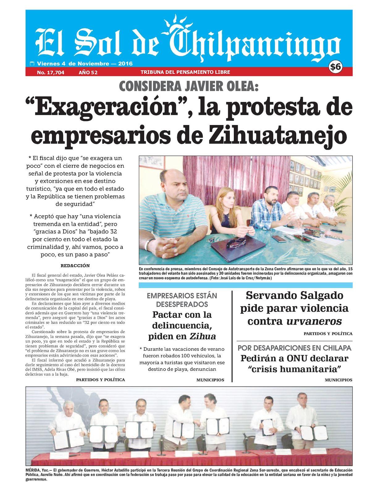 El Calaméo 04 Noviembre 2016 Sol De Chilpancingo 8nPkX0wO