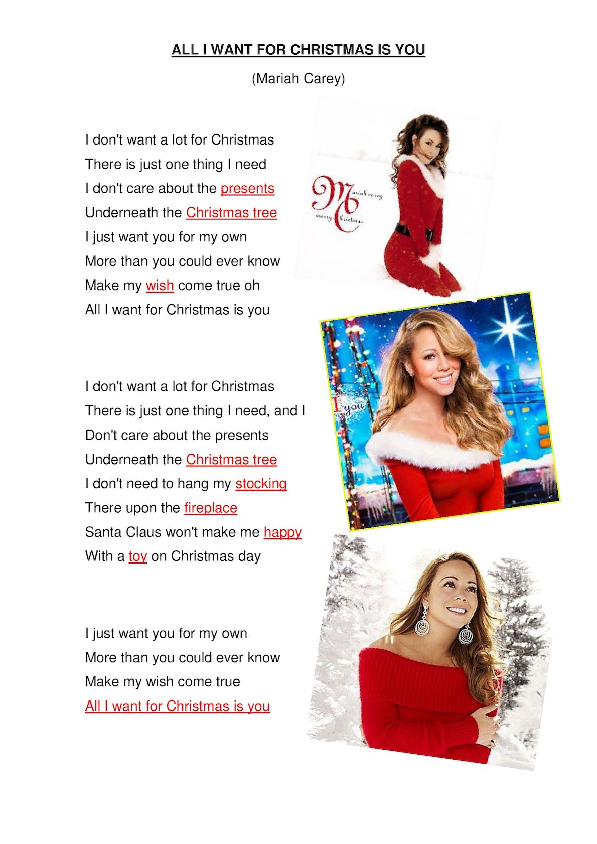 Mariah Carey All I Want For Christmas Is You Lyrics.Calameo All I Want For Christmas Lyrics
