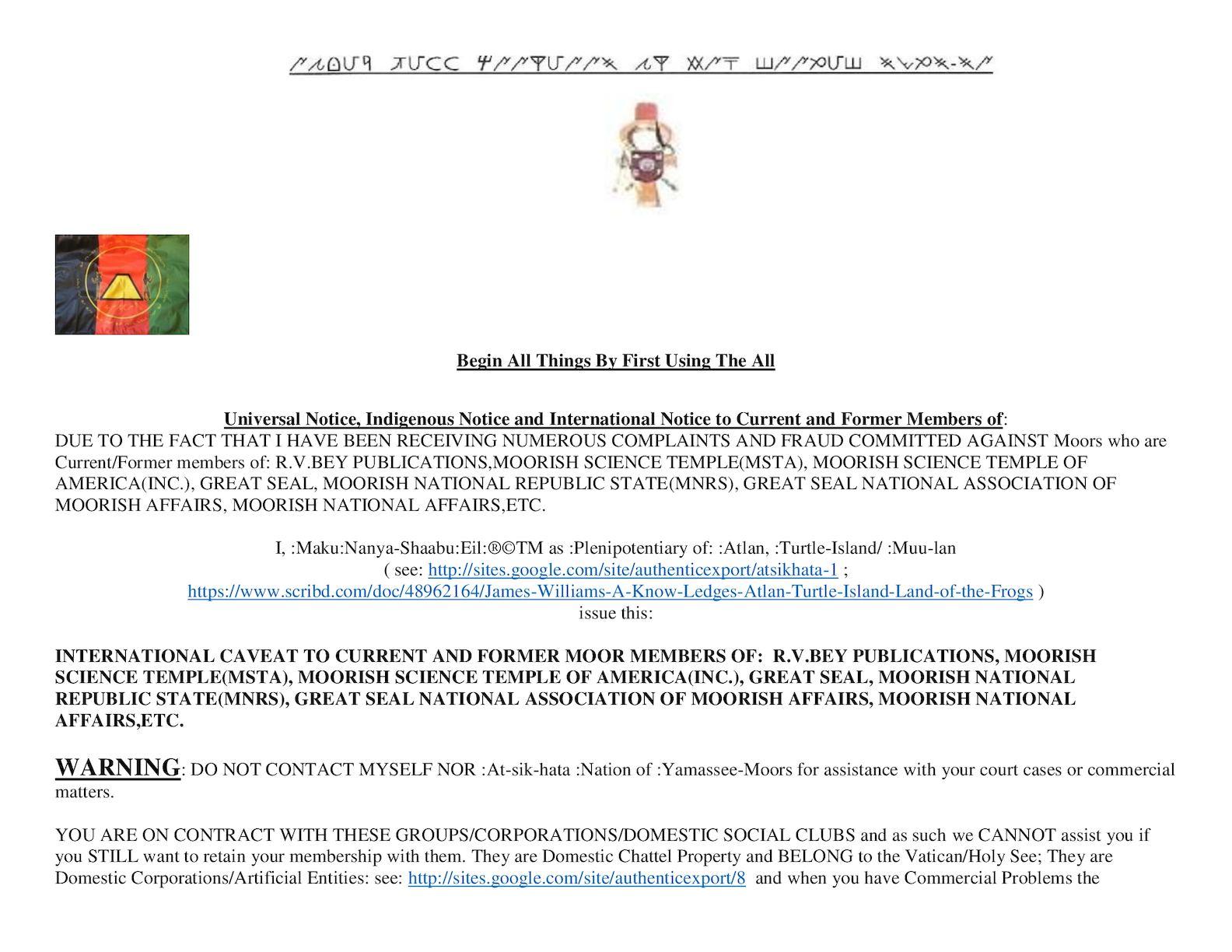 Calaméo - 299157259 INTERNATIONAL NOTICE TO DOMESTIC MOORS