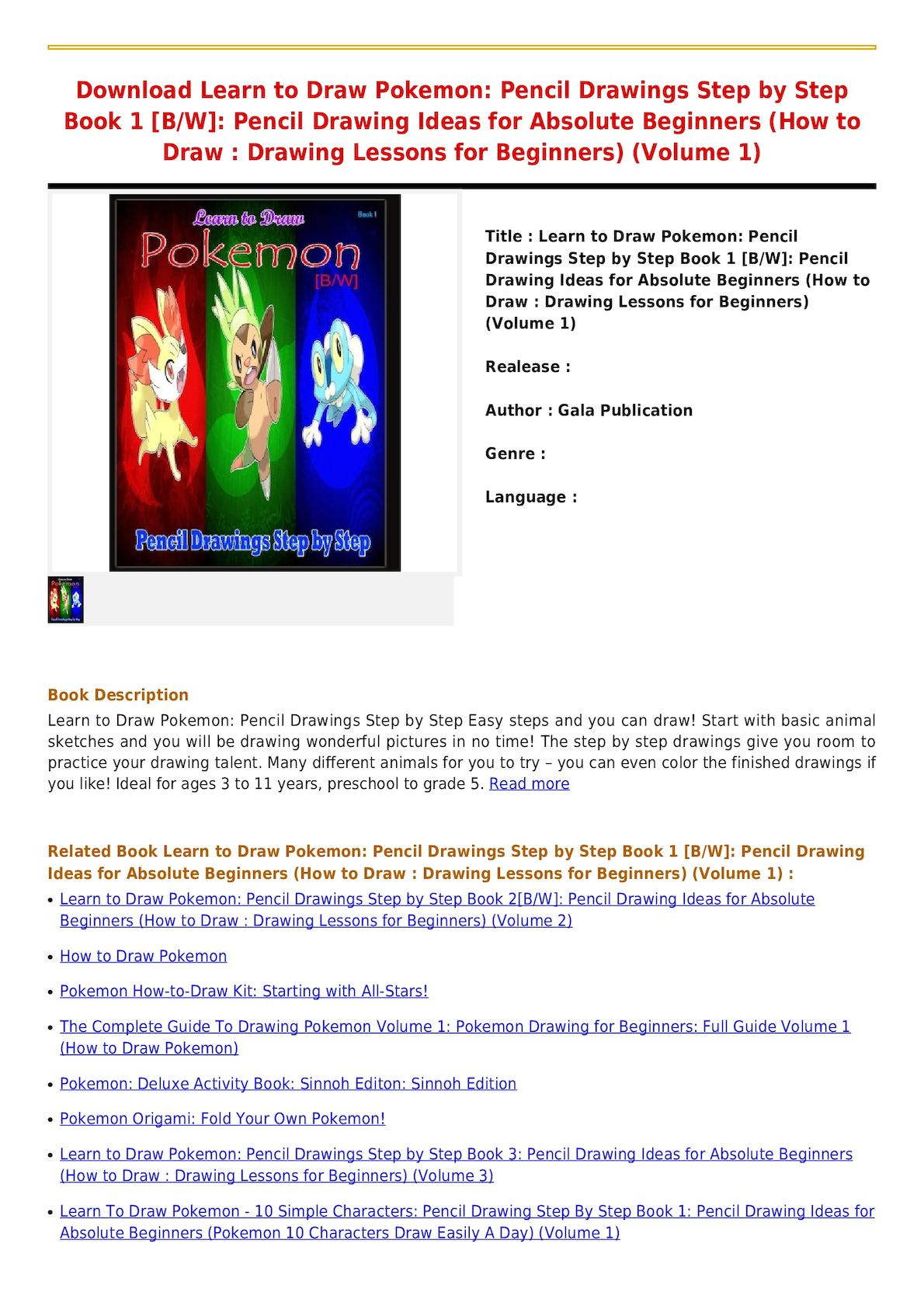 Download learn to draw pokemon pencil drawings step by step book 1 b w pencil drawing ideas for absolute beginners how to draw drawing lessons for