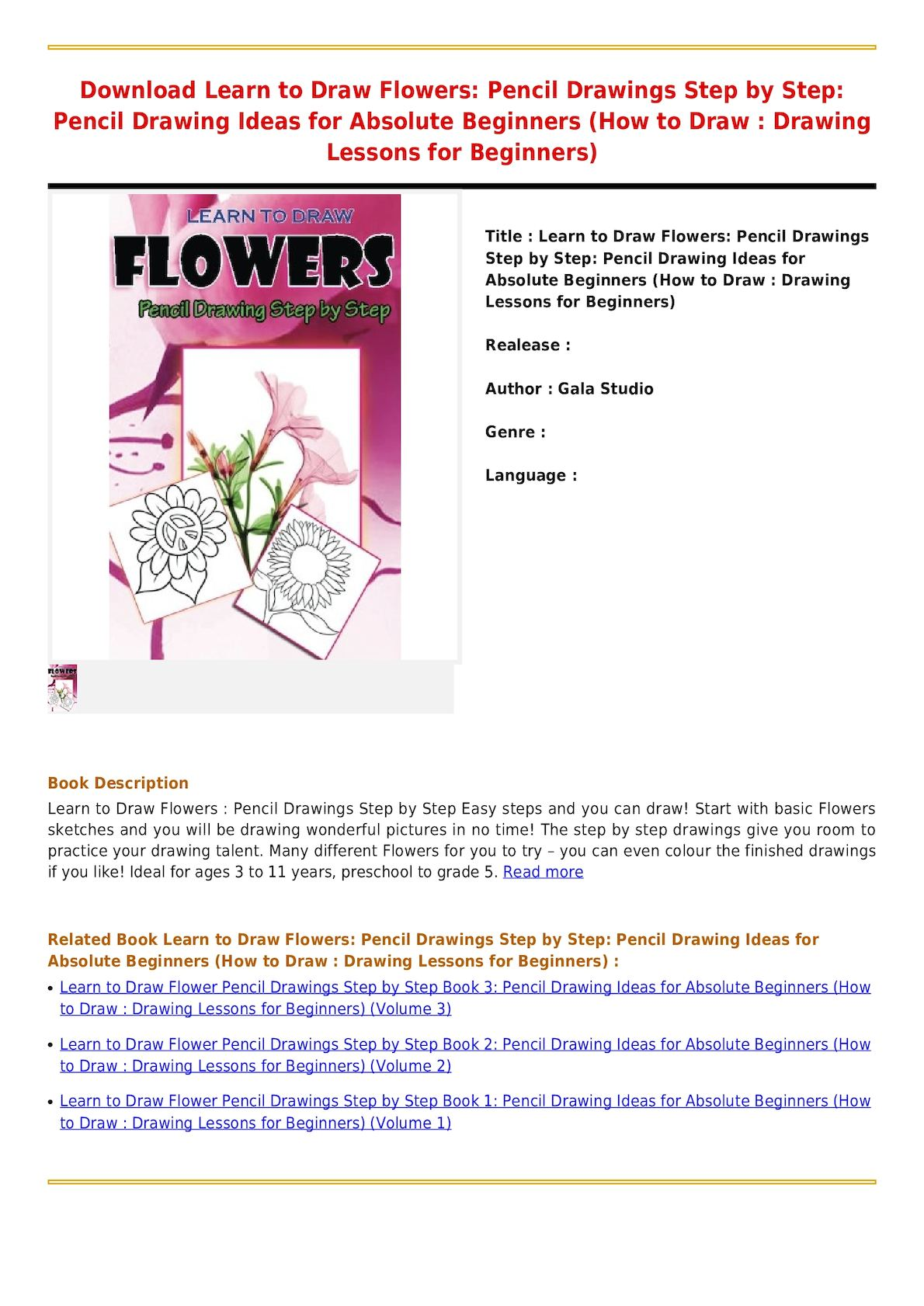 Calaméo , Read Online Learn to Draw Flowers Pencil Drawings