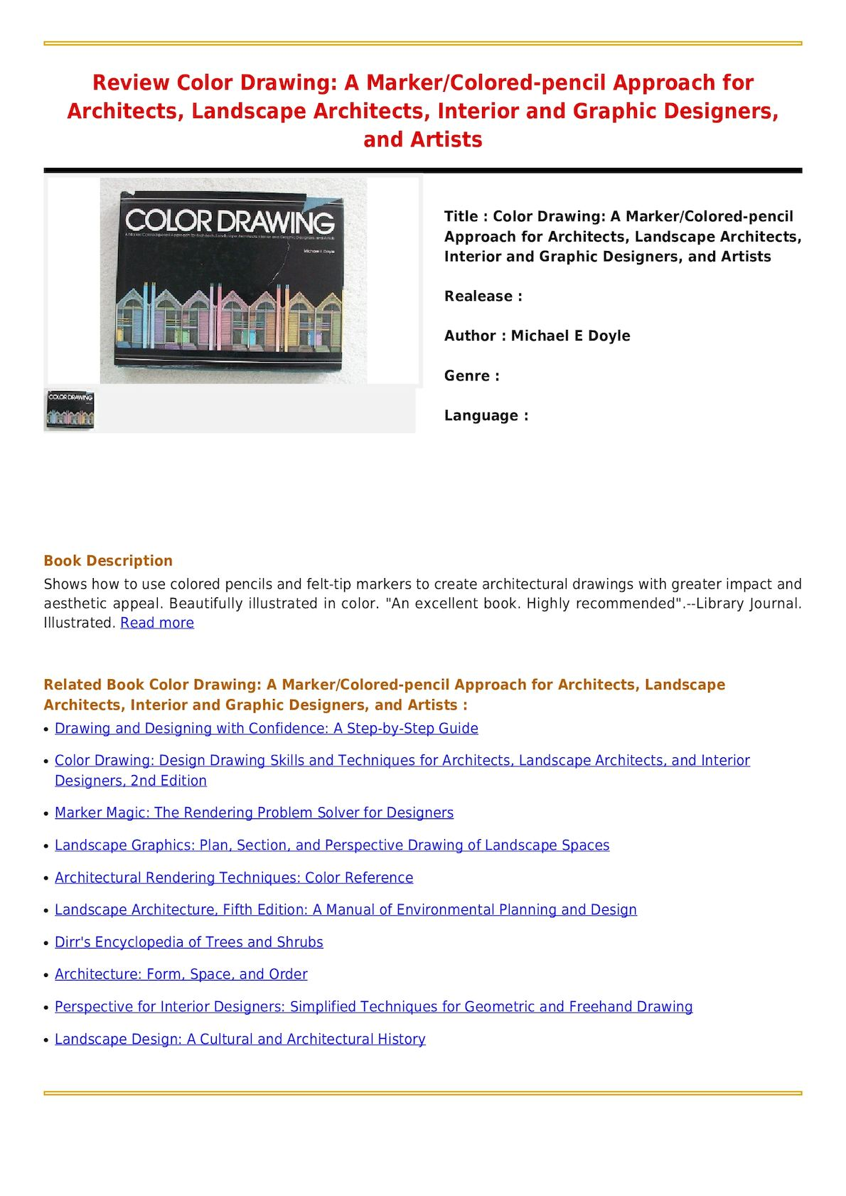 Calameo Read Online Color Drawing A Marker Colored Pencil Approach For Architects Landscape Architects Interior And Graphic Designers And Artists