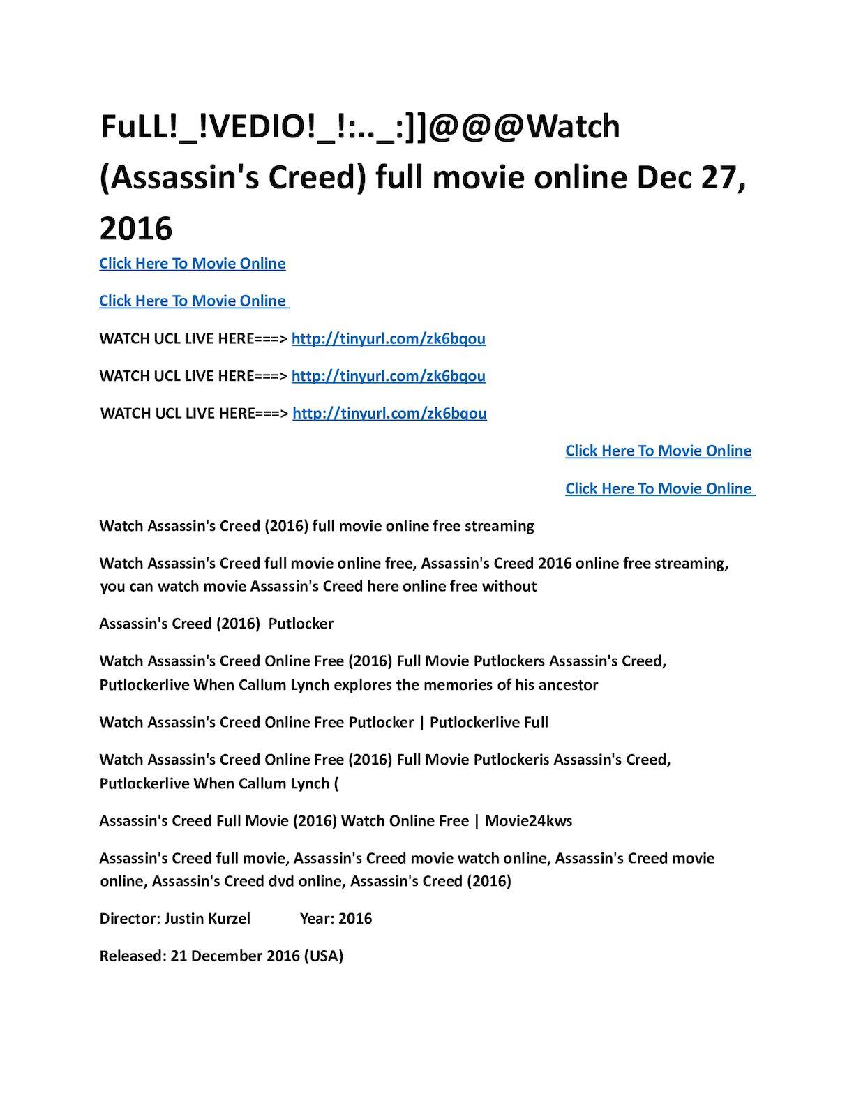 Calameo Assassin S Creed Full Movie Online Dec 27 20161 Pdf