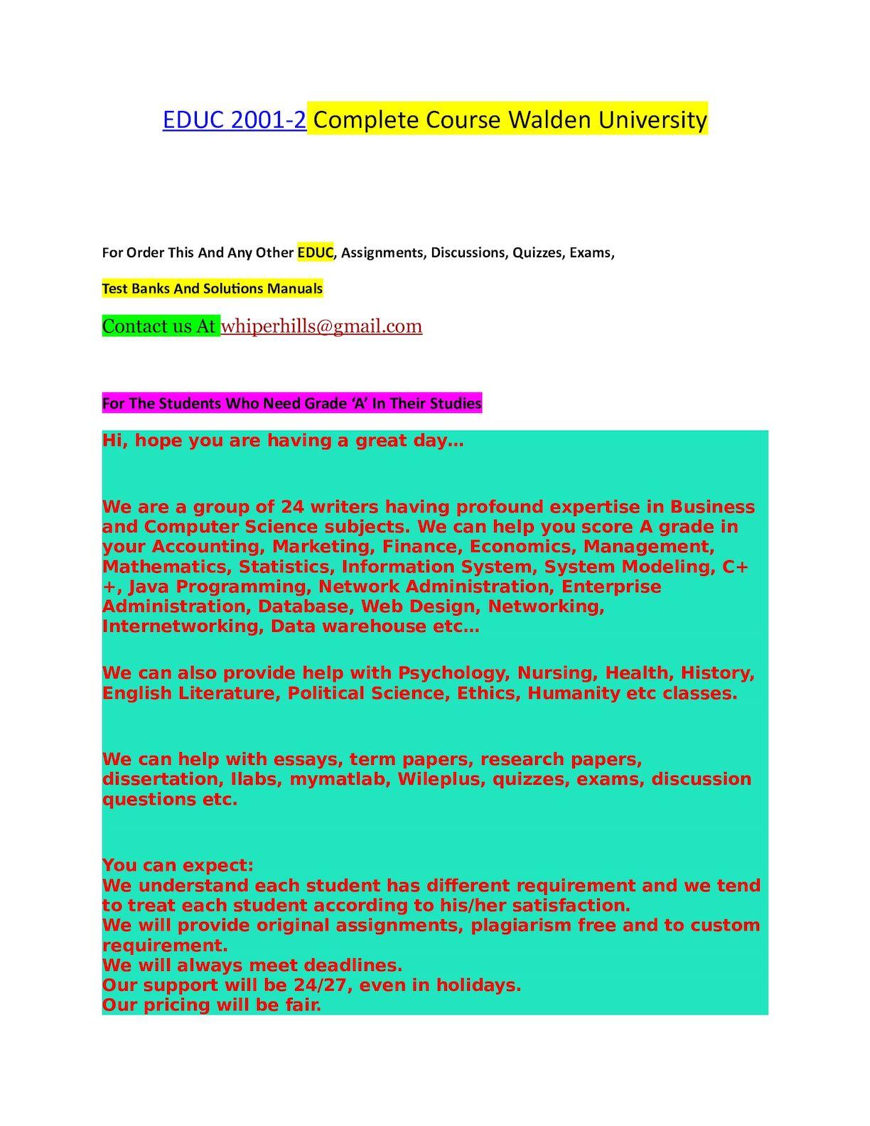 Calaméo - EDUC 2001 2 Complete Course Walden University