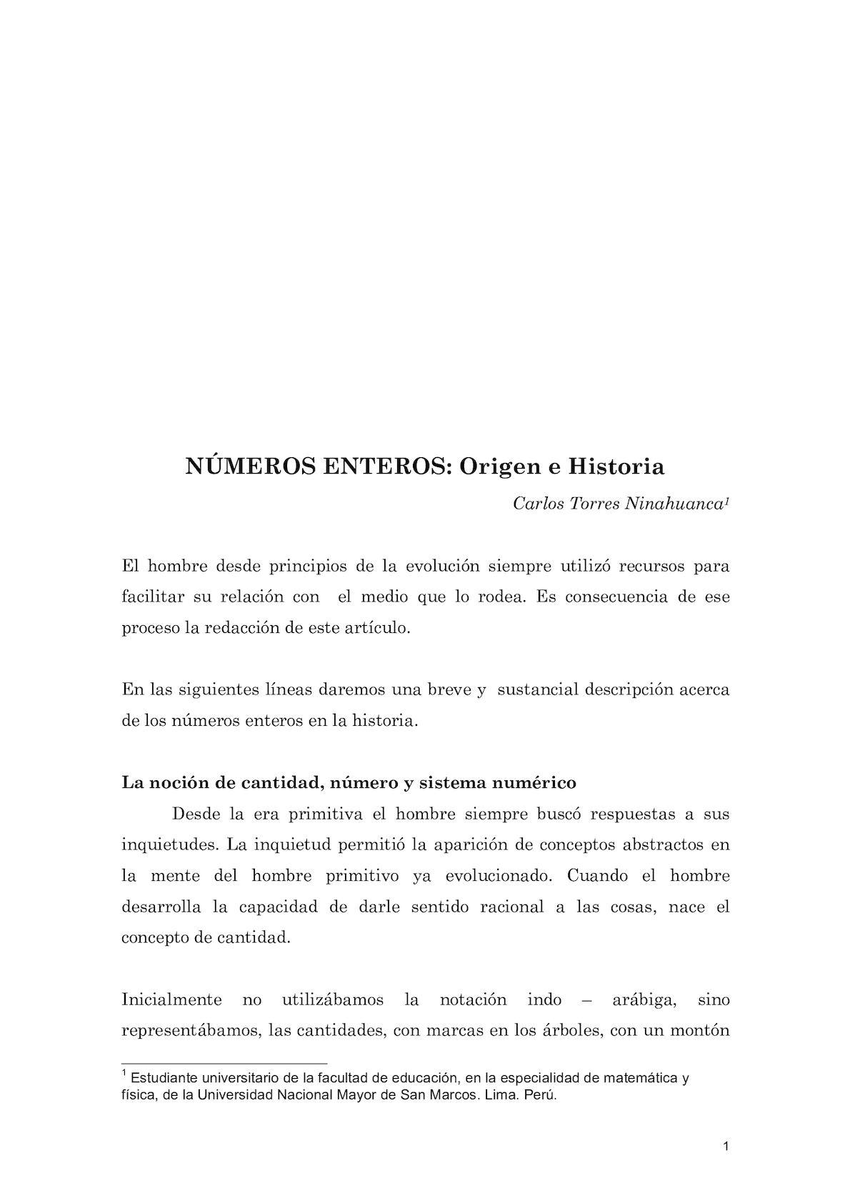 NUMEROS ENTEROS   ORIGEN E HISTORIA 1