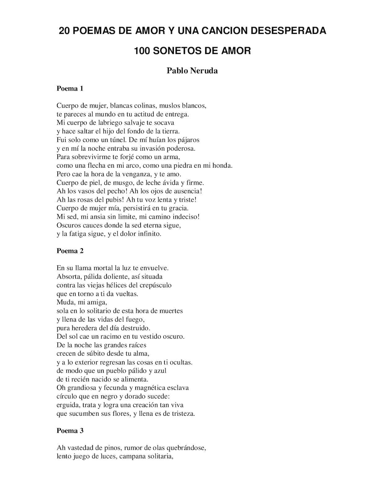 Calaméo Pablo Neruda 20 Poemas De Amor Y Una Canción