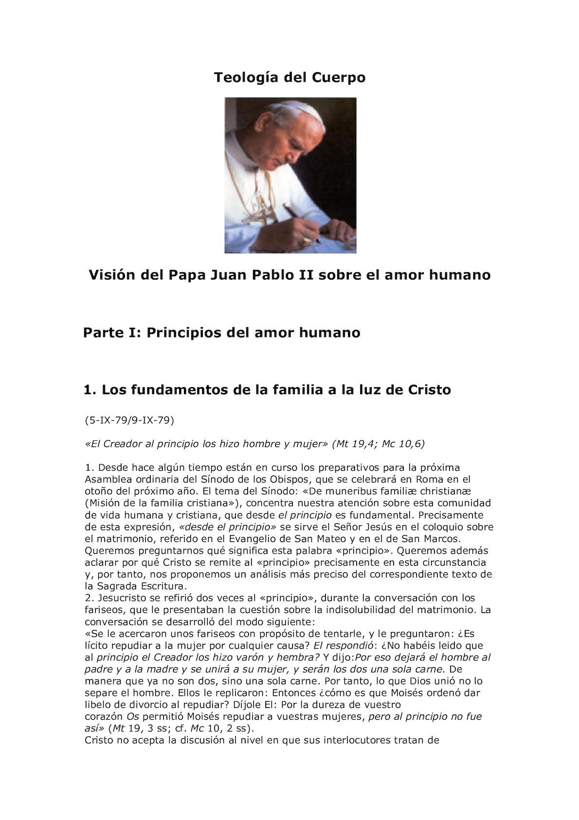 Teología del Cuerpo de Juan Pablo II Vol. 1 Las Palabras de Cristo