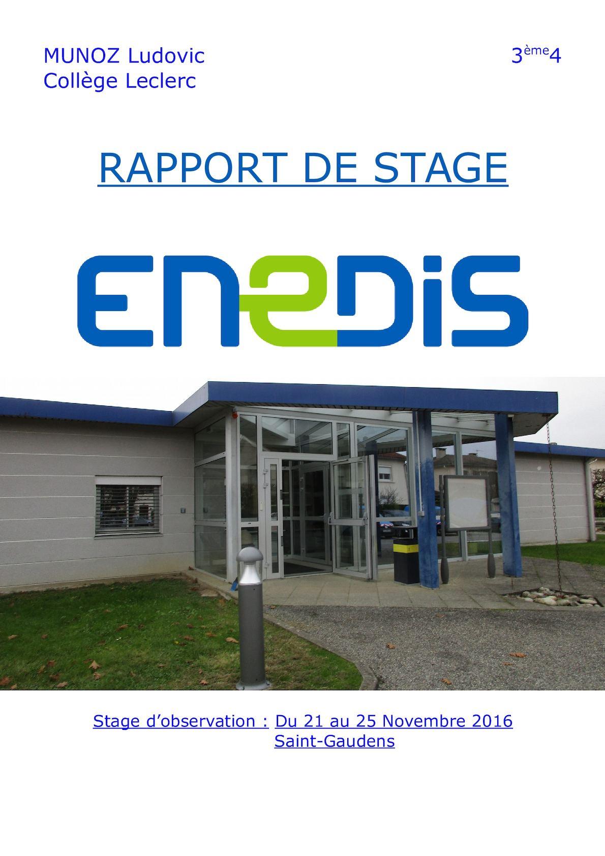 Exemple De Rapport De Stage Electrotechnique