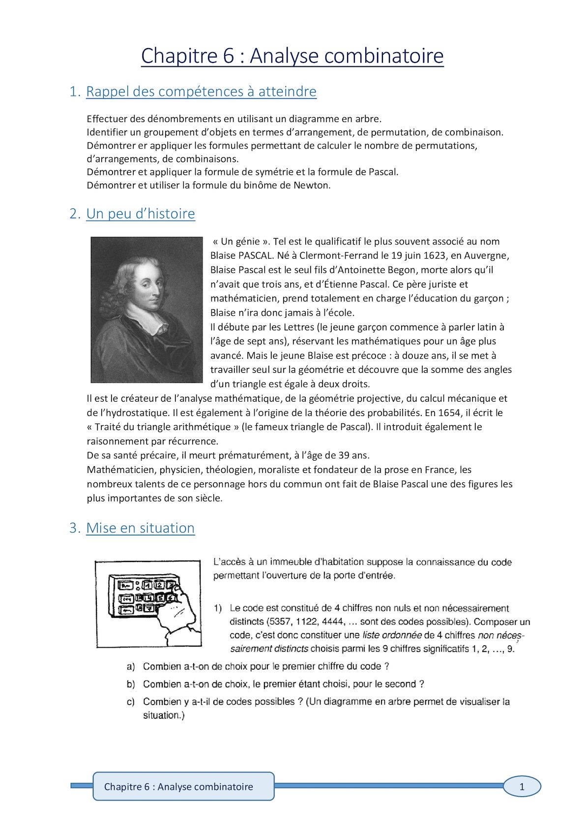 Calameo Chapitre 6 Analyse Combinatoire