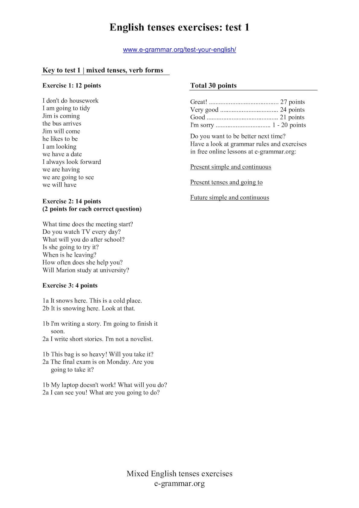 Calaméo - Key Test Your English 1Unit4