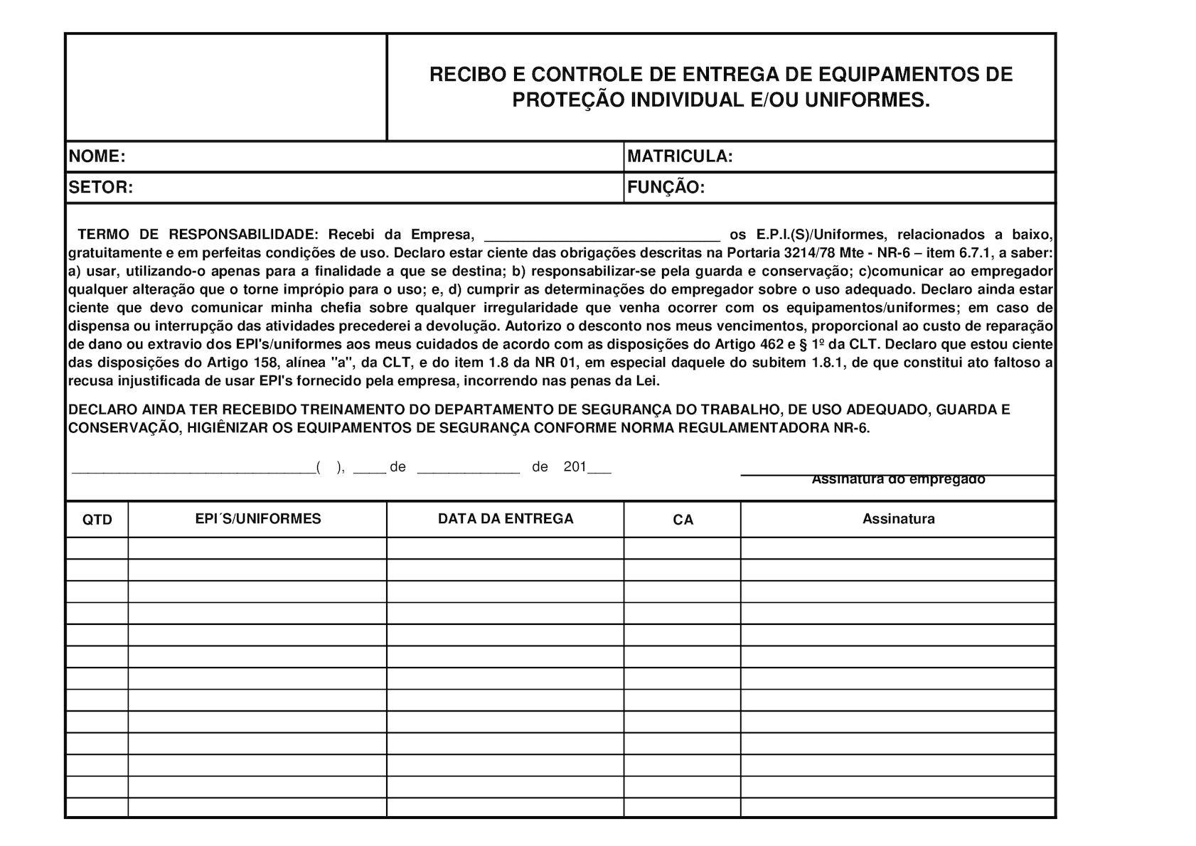 Calaméo - Modelo De Ficha Para Entrega De EPI S