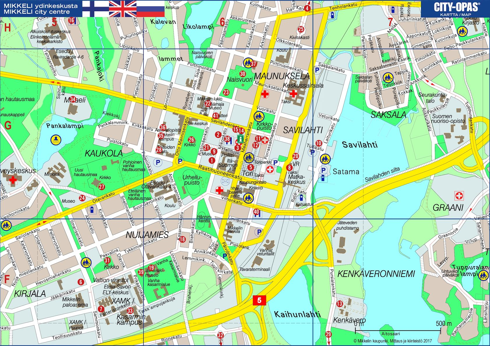 Calameo Mikkelin Keskustan City Opas Kartta 2017